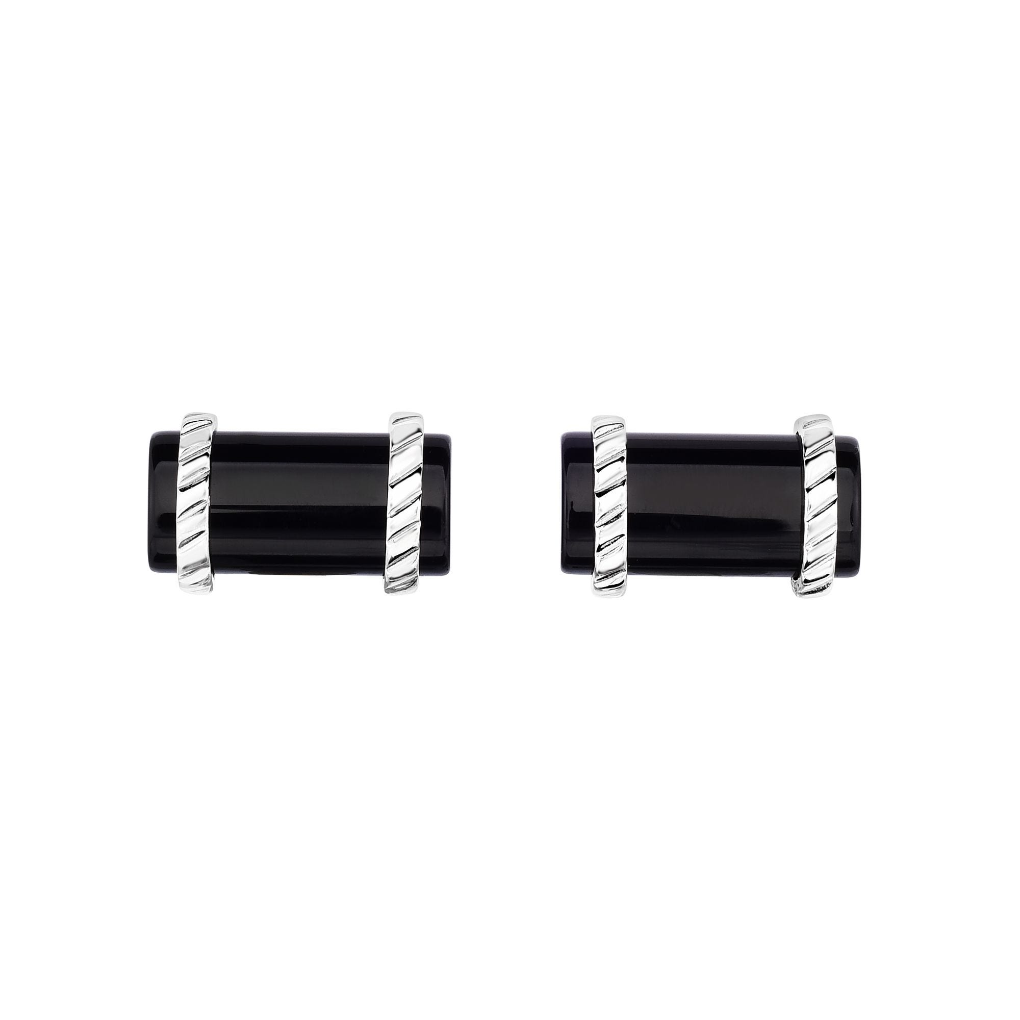 Black Onyx Cylinder Cufflinks 22x13mm in Sterling Silver