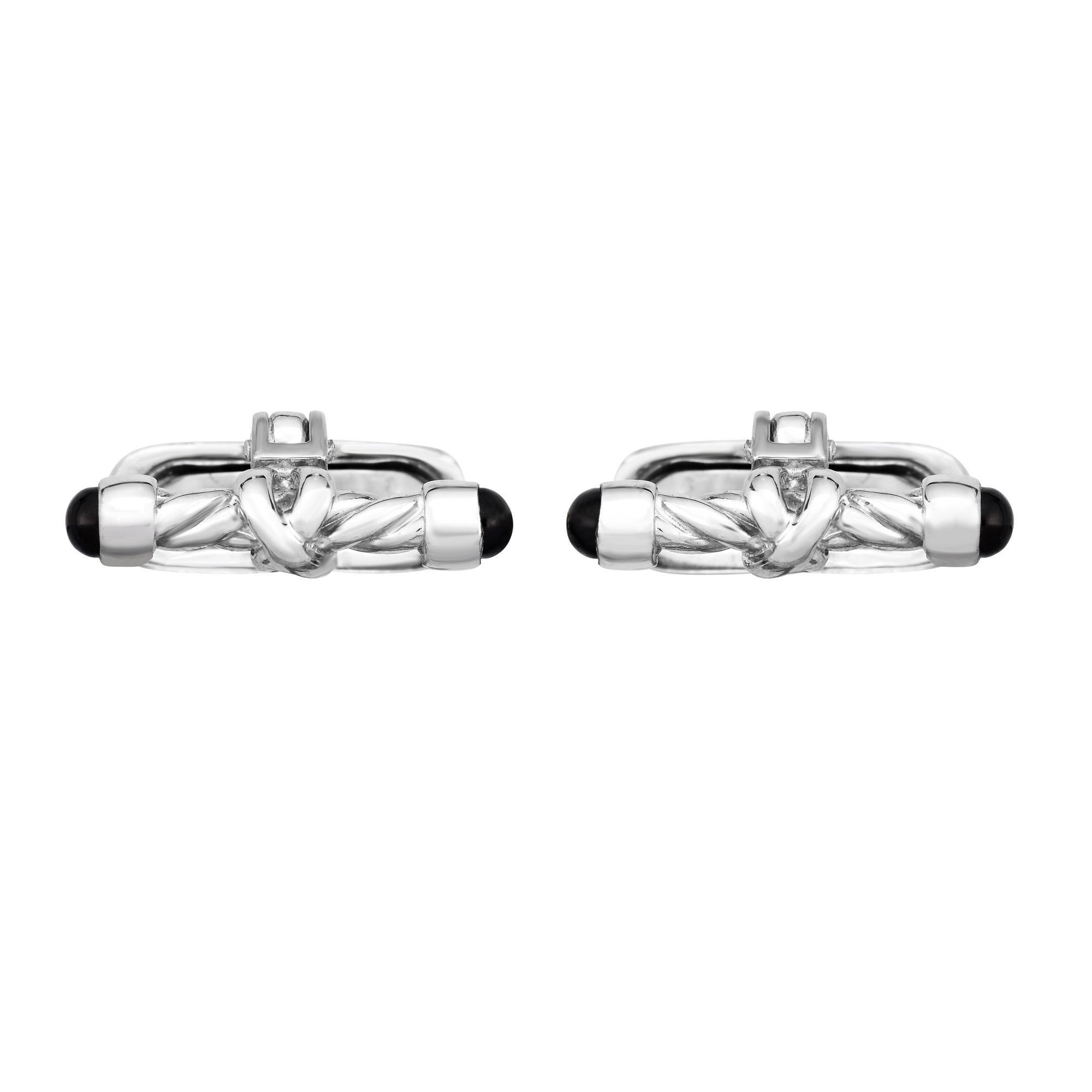 Knot Cufflinks 8x20mm in Sterling Silver