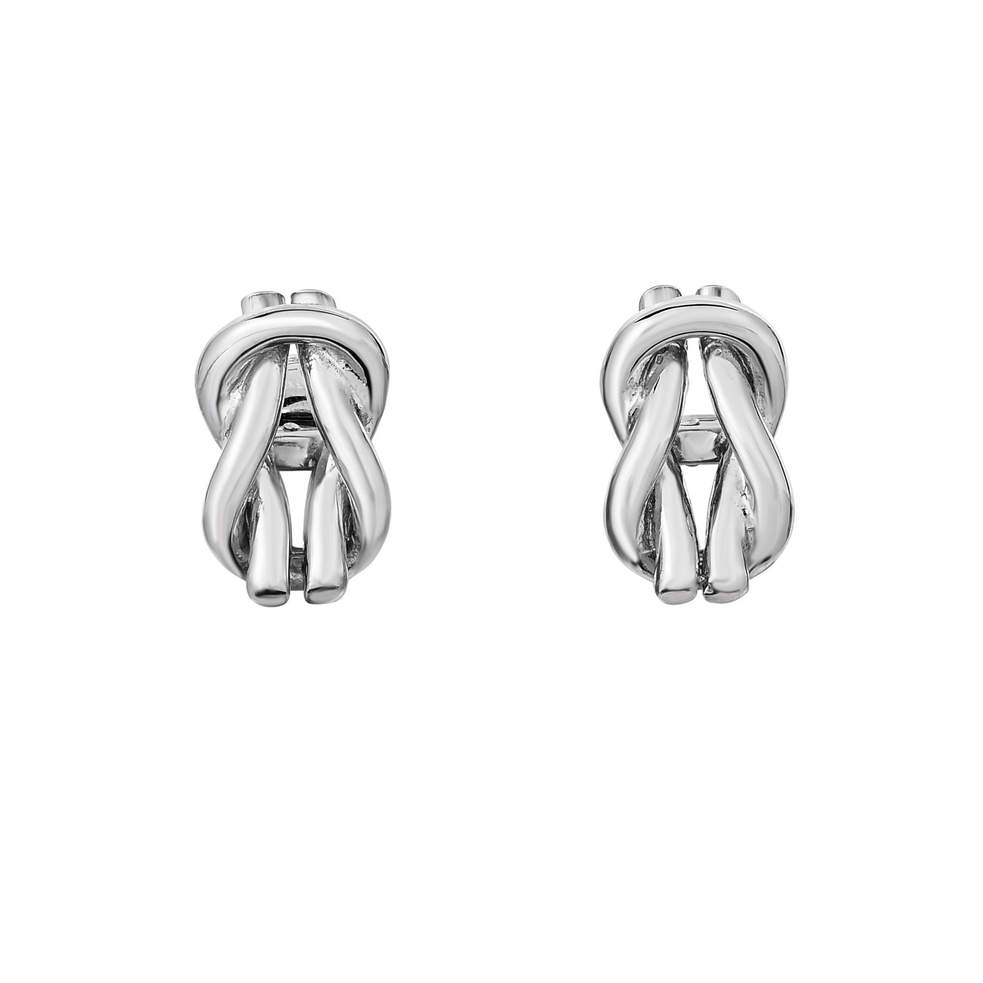 Looped Knot Cufflinks 20x12mm in Sterling Silver