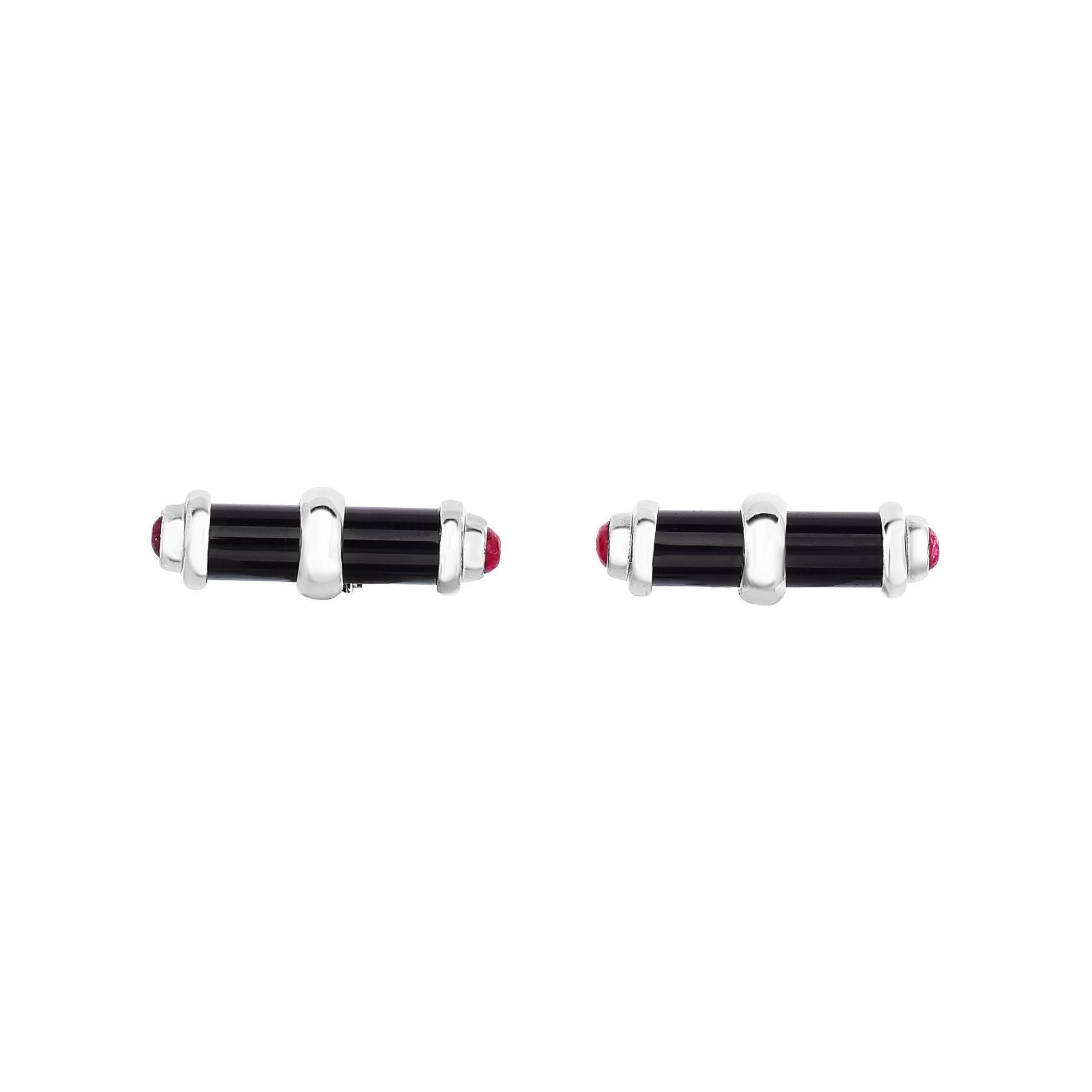 Black Onyx & Ruby Cylinder Cufflinks 22x7mm in Sterling Silver