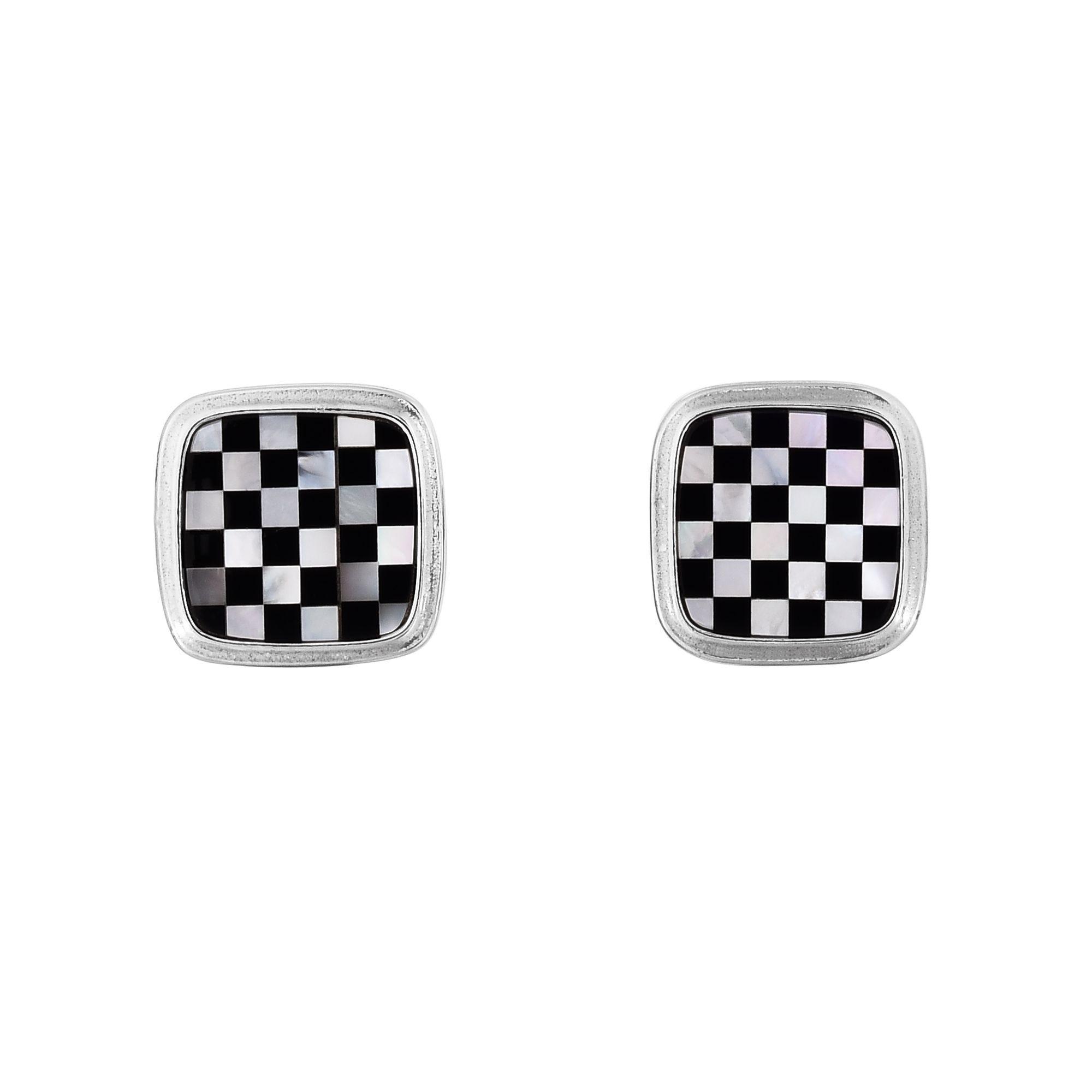Checkerboard Cufflinks 16mm in Sterling Silver