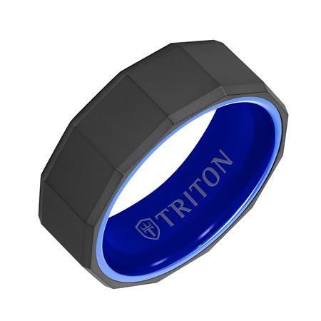 Triton RAW Black 8mm Tungsten Wedding Band with Blue Ceramic