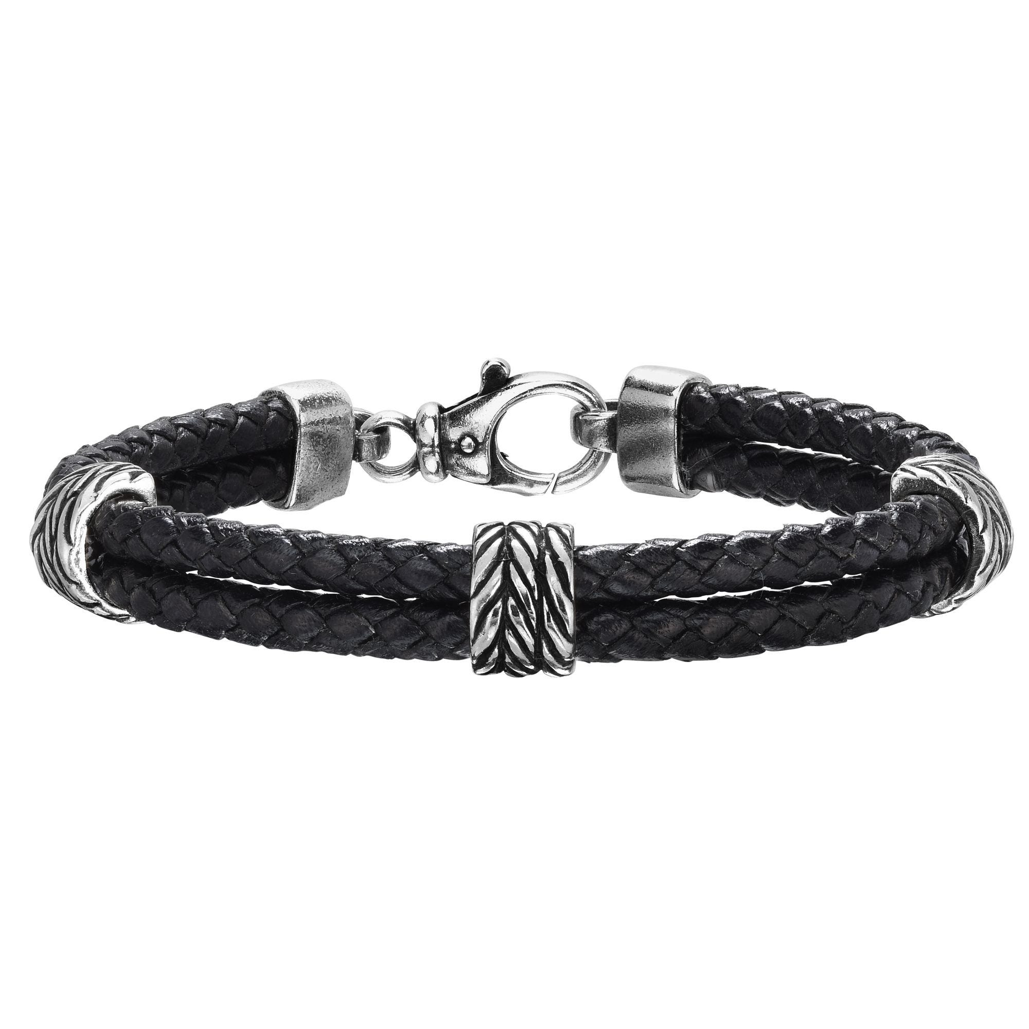Men's Oxidized Finish Textured Leather Bracelet 8.25