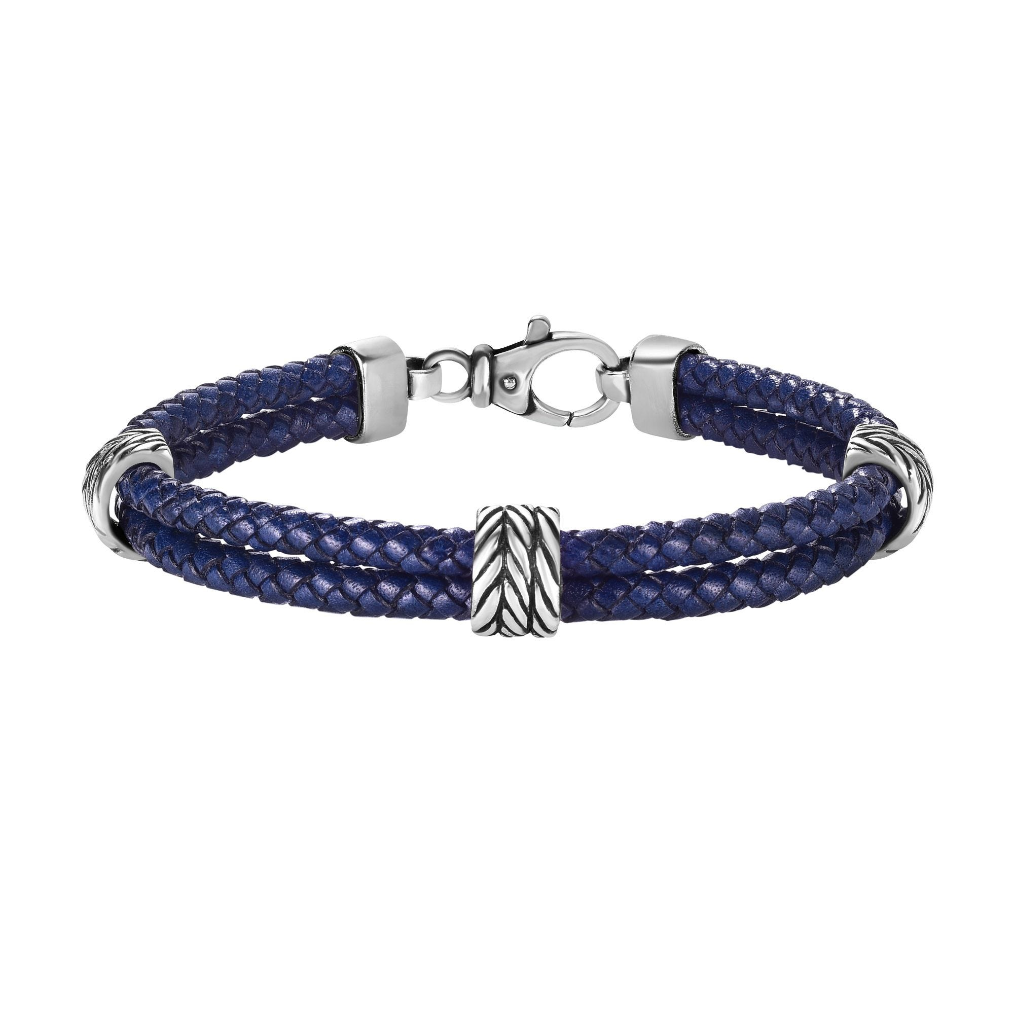 Blue Leather Bracelet 8.25