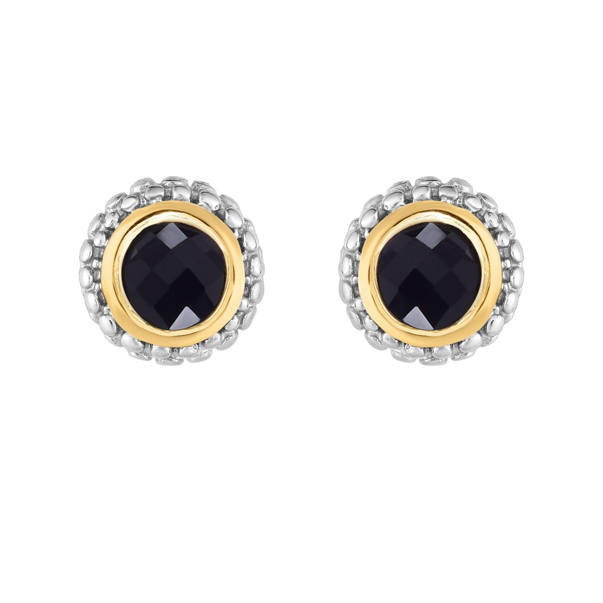 Black Onyx Double Halo Earrings in Sterling Silver