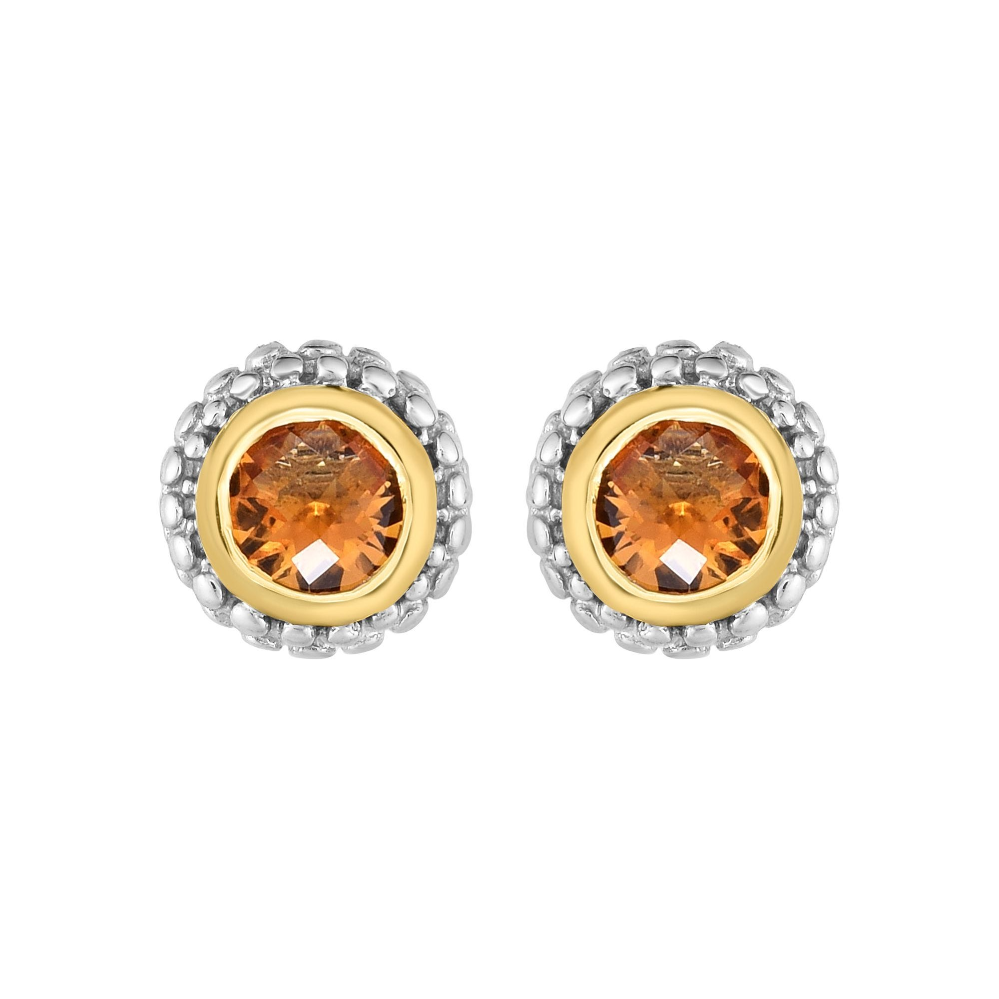 Citrine Double Halo Earrings in Sterling Silver