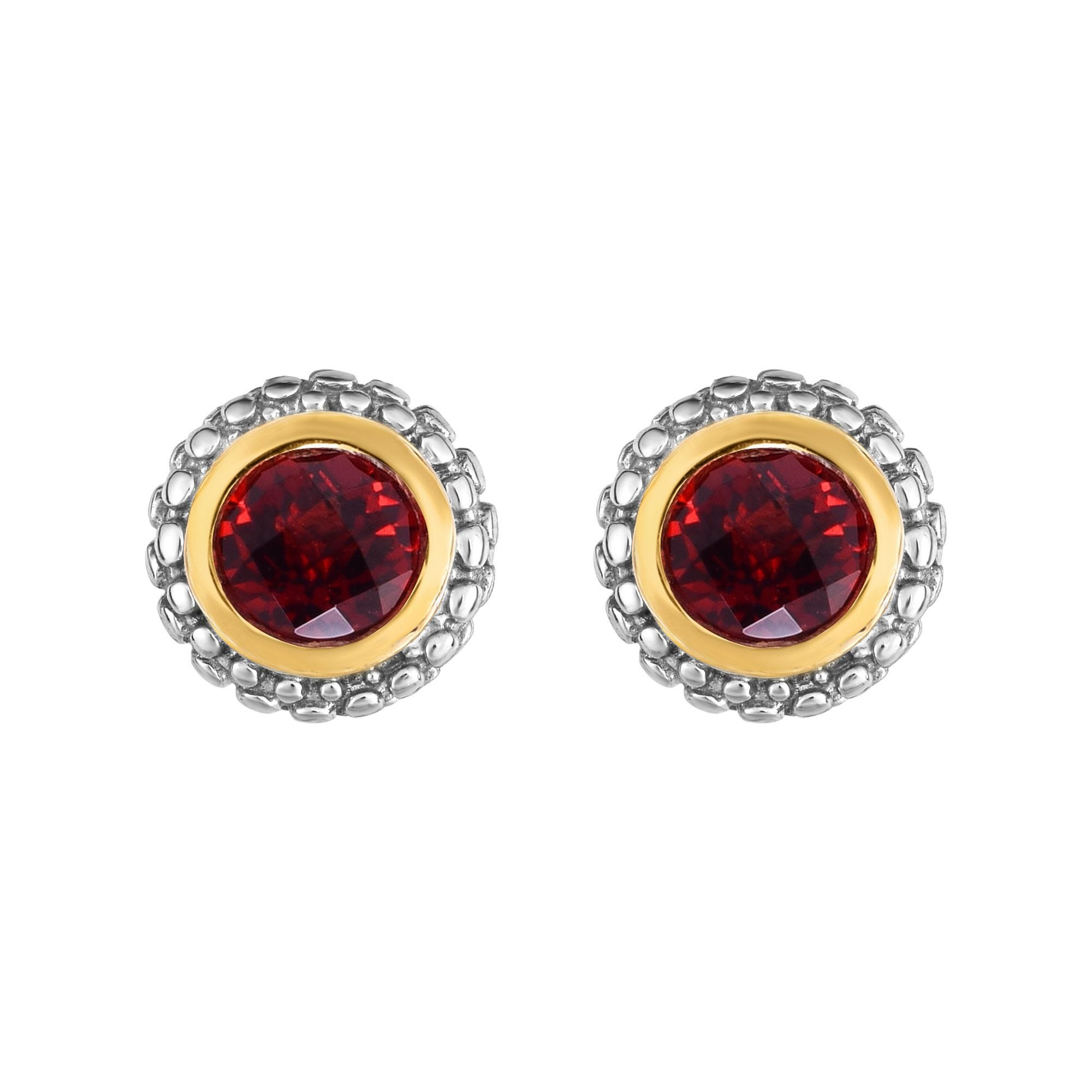 Garnet Double Halo Earrings in Sterling Silver