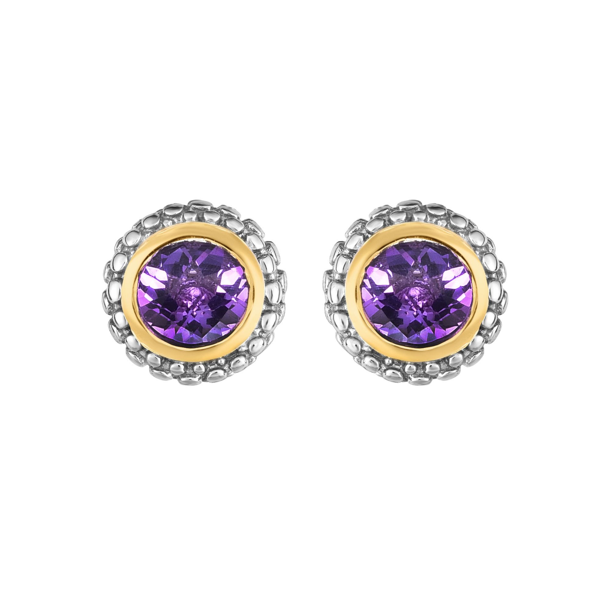 Amethyst Double Halo Earrings in Sterling Silver