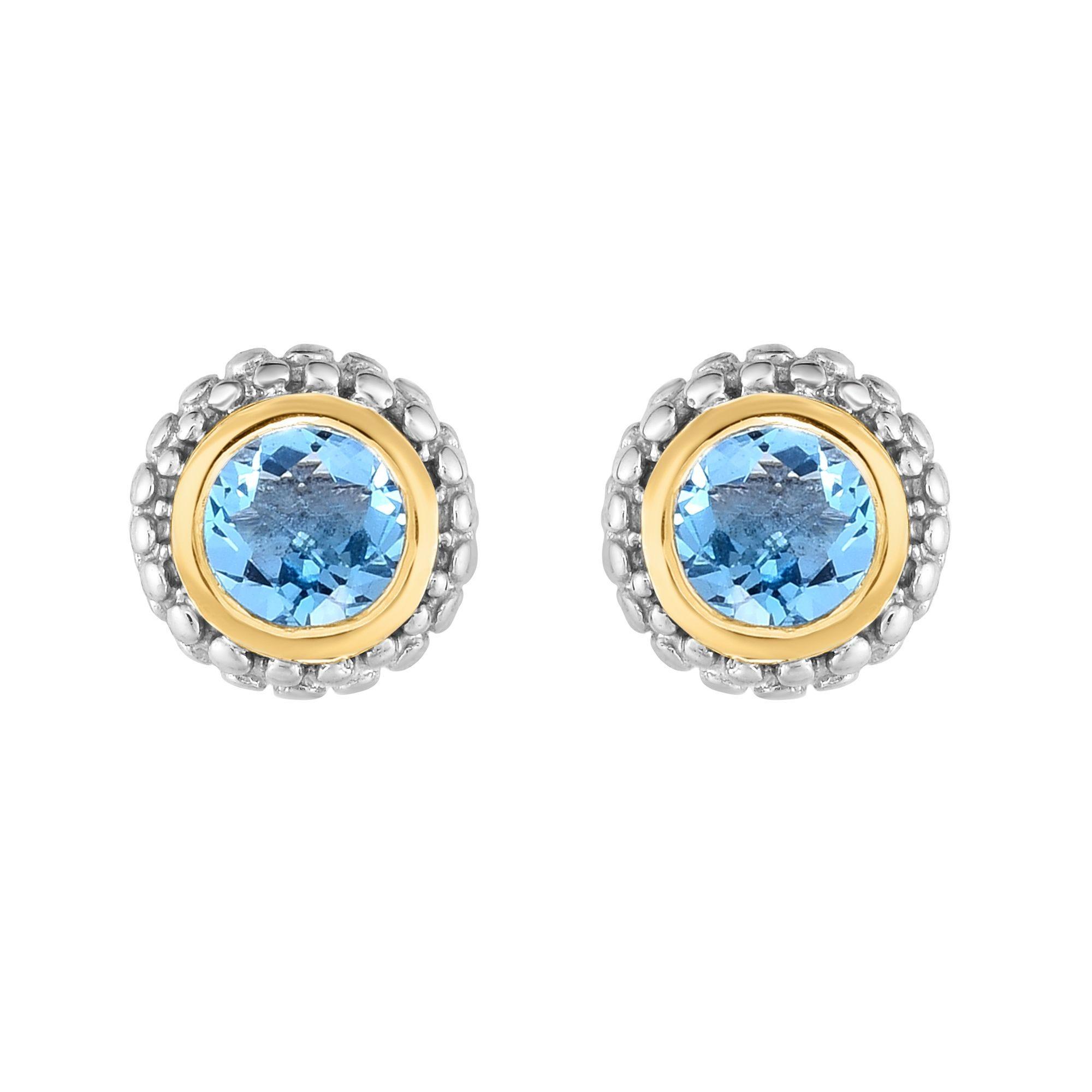 Blue Topaz Double Halo Earrings in Sterling Silver