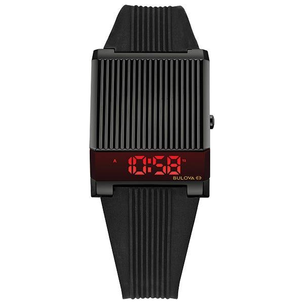 Bulova Archive Series Digital LED Computron Black Rubber Strap Watch 98C135