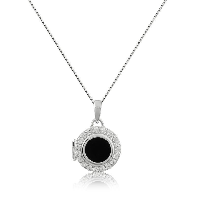 Onyx & Created White Sapphire Locket Necklace in Sterling Silver
