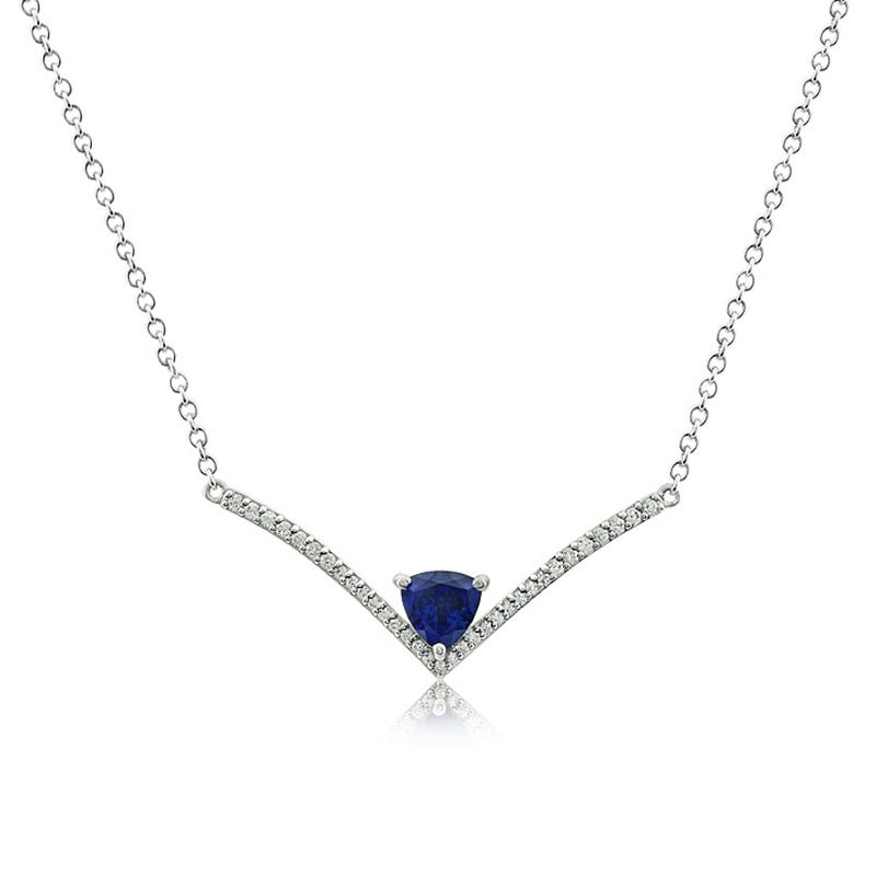 Created Blue & White Sapphire Gemstone Necklace in Sterling Silver