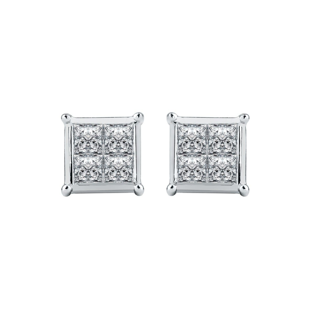 Quad 1/8ctw. Diamond Stud Earrings in 10k White Gold