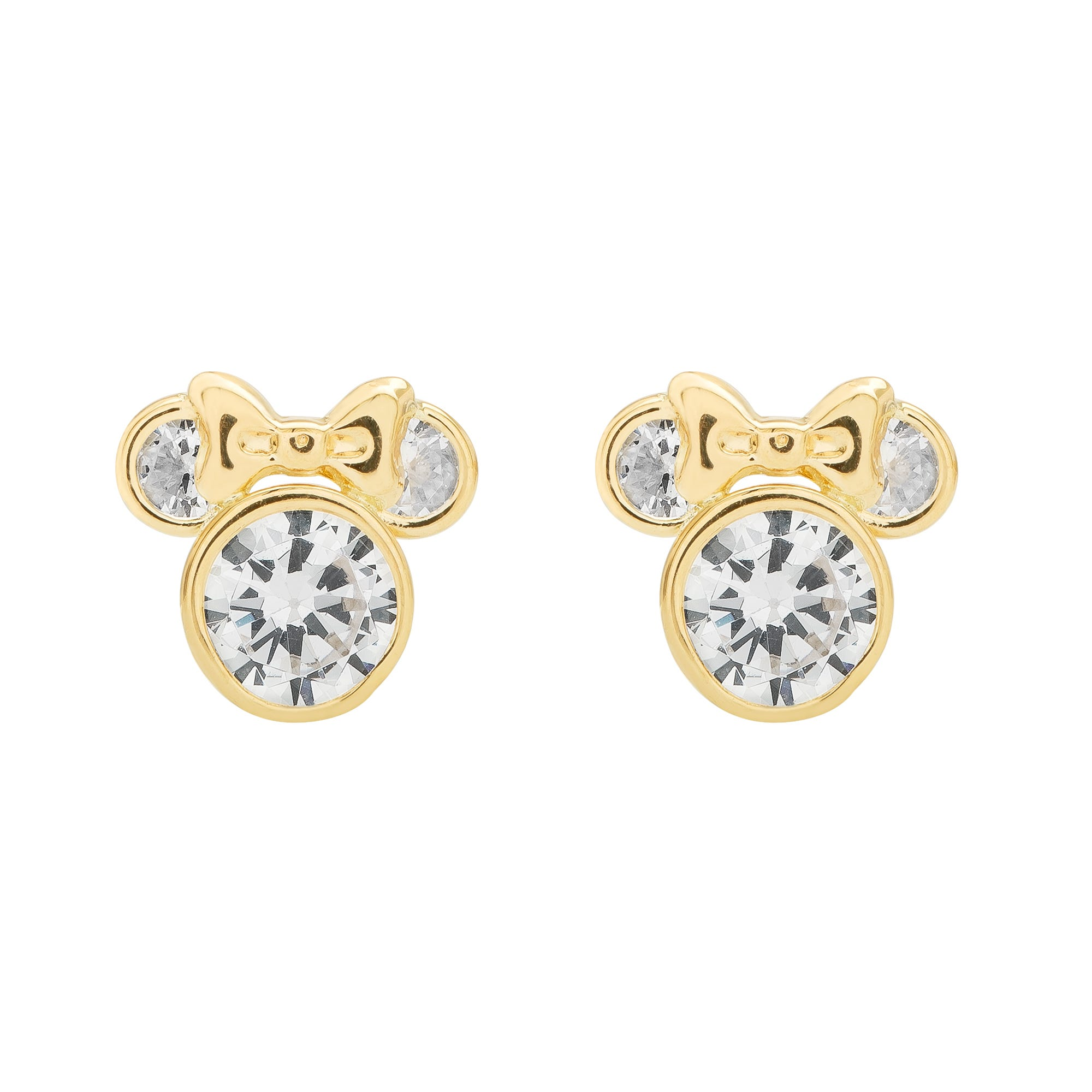 DISNEY© Minnie Mouse CZ Stud Earrings w/ Bow in 10k Yellow Gold