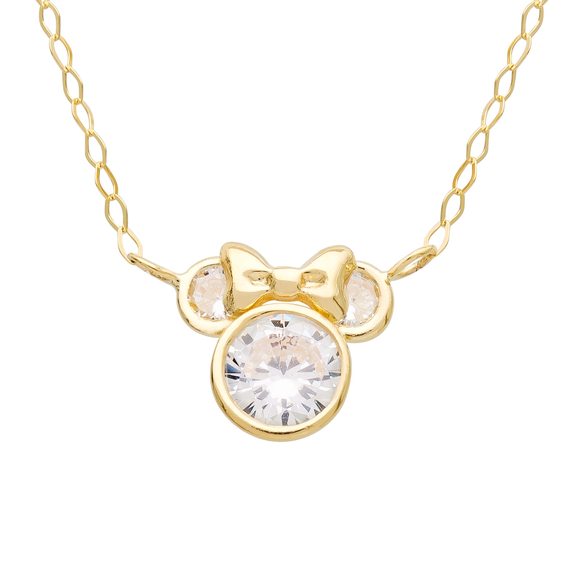DISNEY© Minnie Mouse CZ Necklace in 10k Yellow Gold