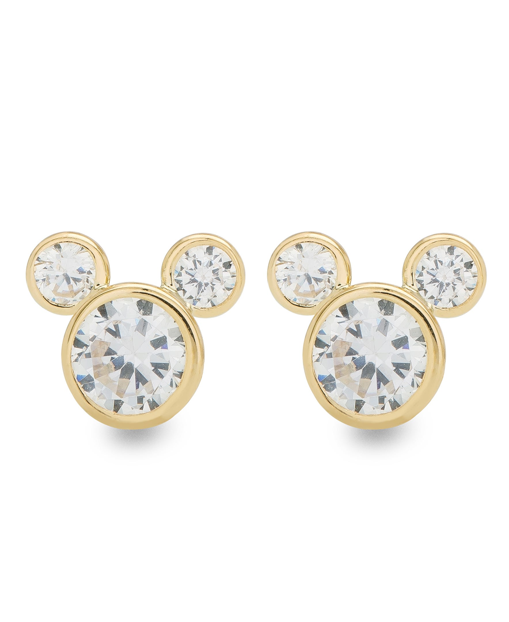DISNEY© Mickey Mouse CZ Stud Earrings in 10k Yellow Gold