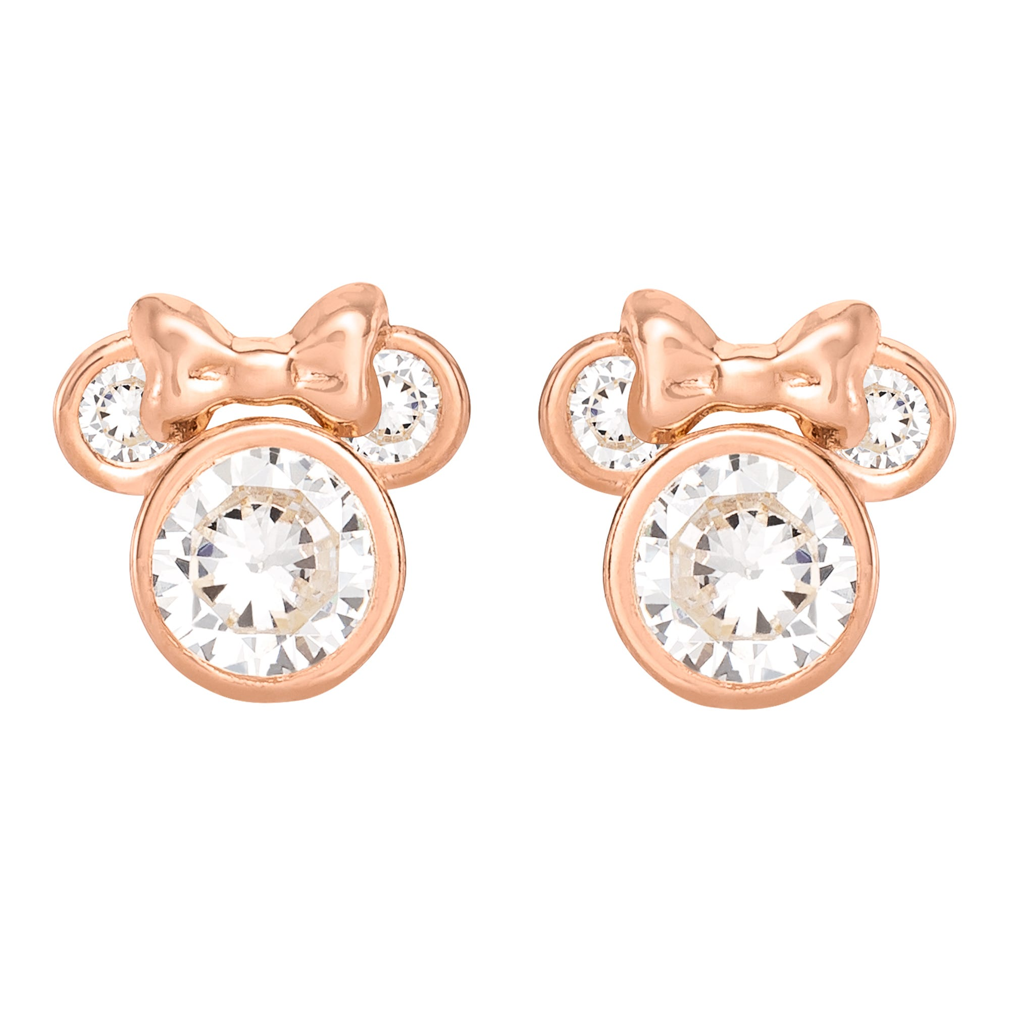 DISNEY© Minnie Mouse CZ Stud Earrings in 10k Rose Gold