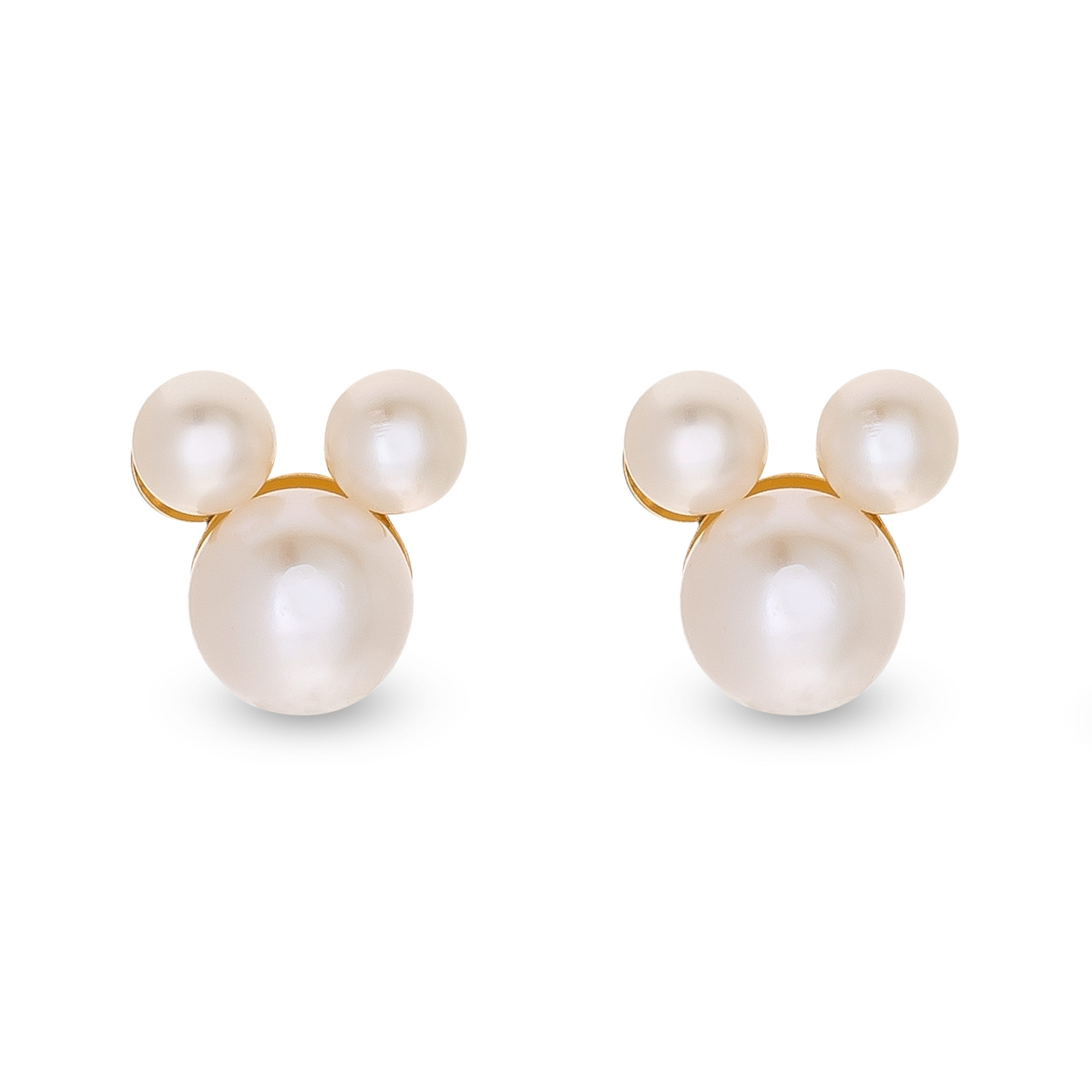 DISNEY© Mickey Pearl Stud Earrings in 10k Yellow Gold