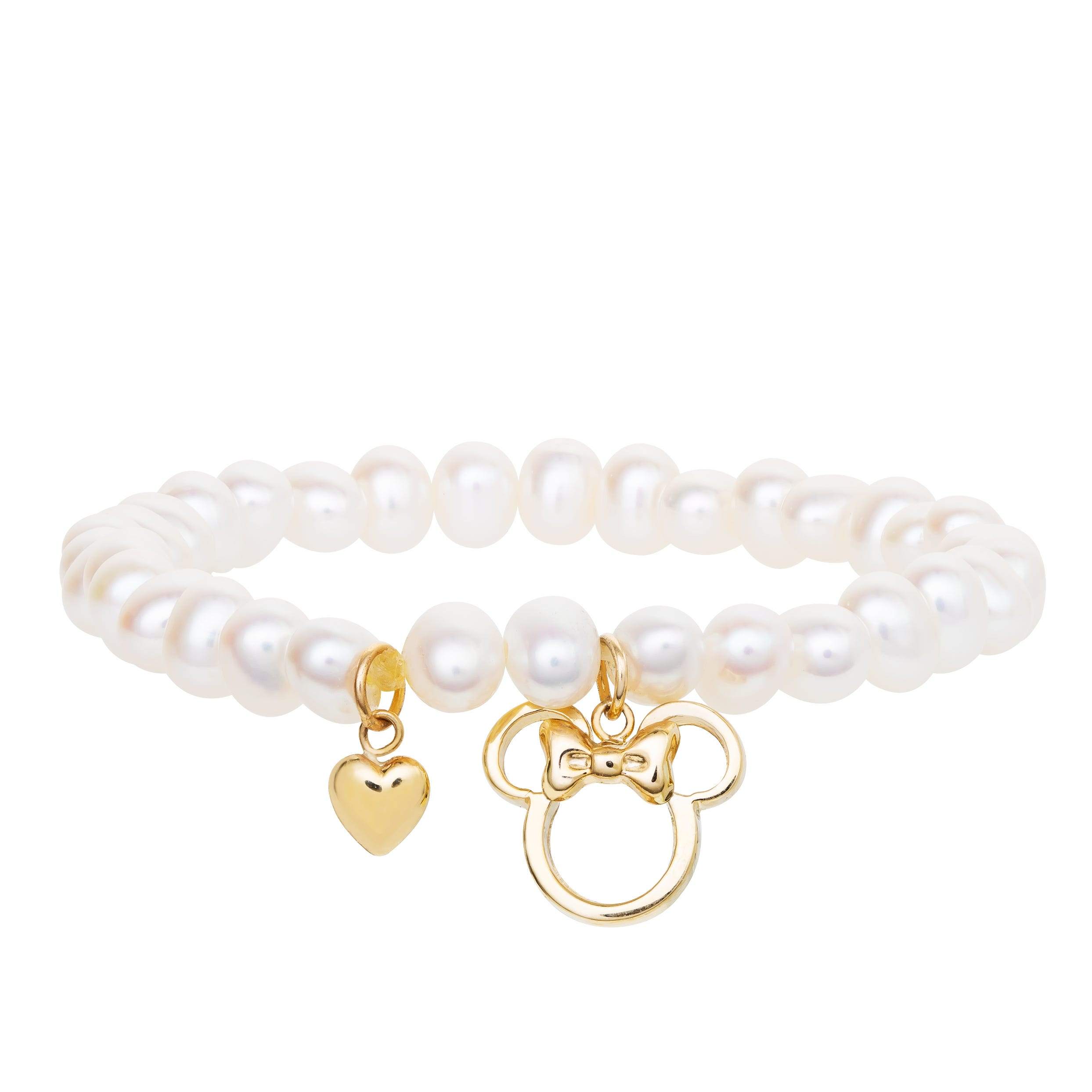 DISNEY© Minnie Mouse Children's Pearl Bracelet in 10k Yellow Gold