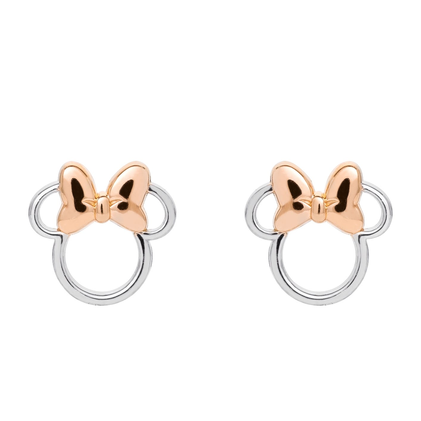 DISNEY© Minnie Mouse Stud Earrings in Sterling Silver & Rose Gold Plated