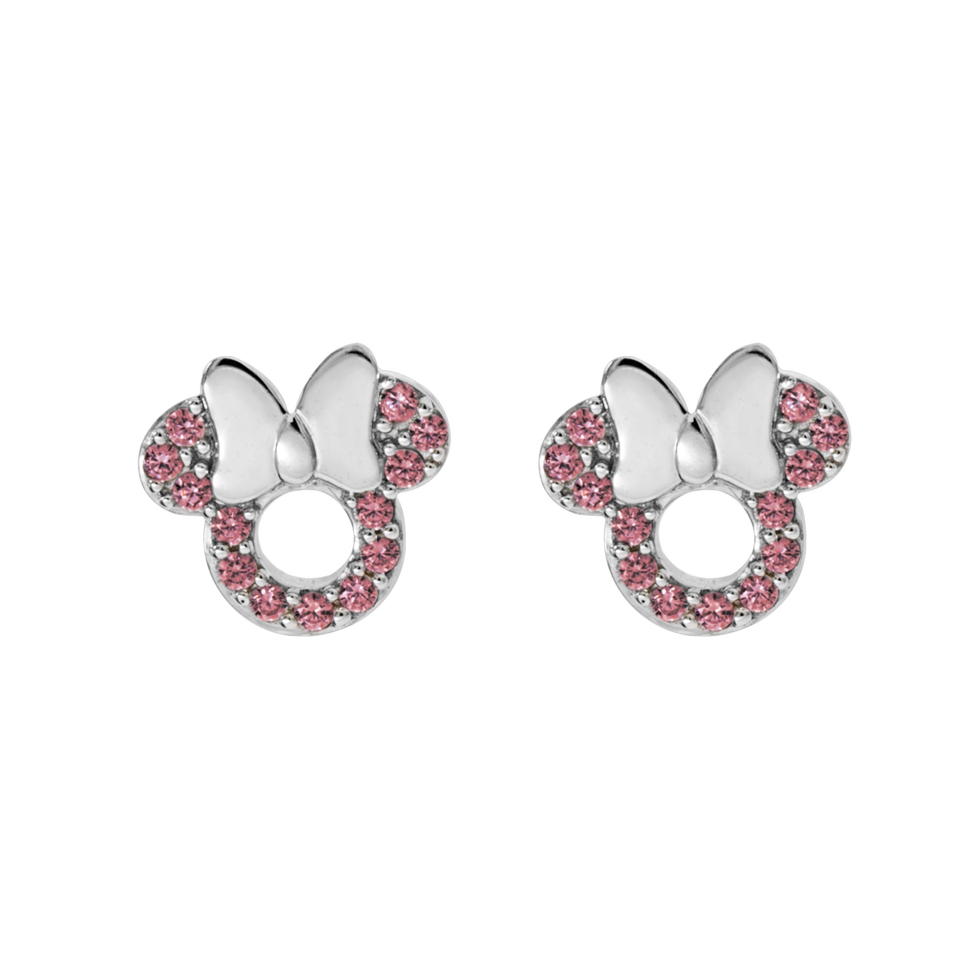DISNEY© Minnie Mouse Pink CZ Earrings in Sterling Silver
