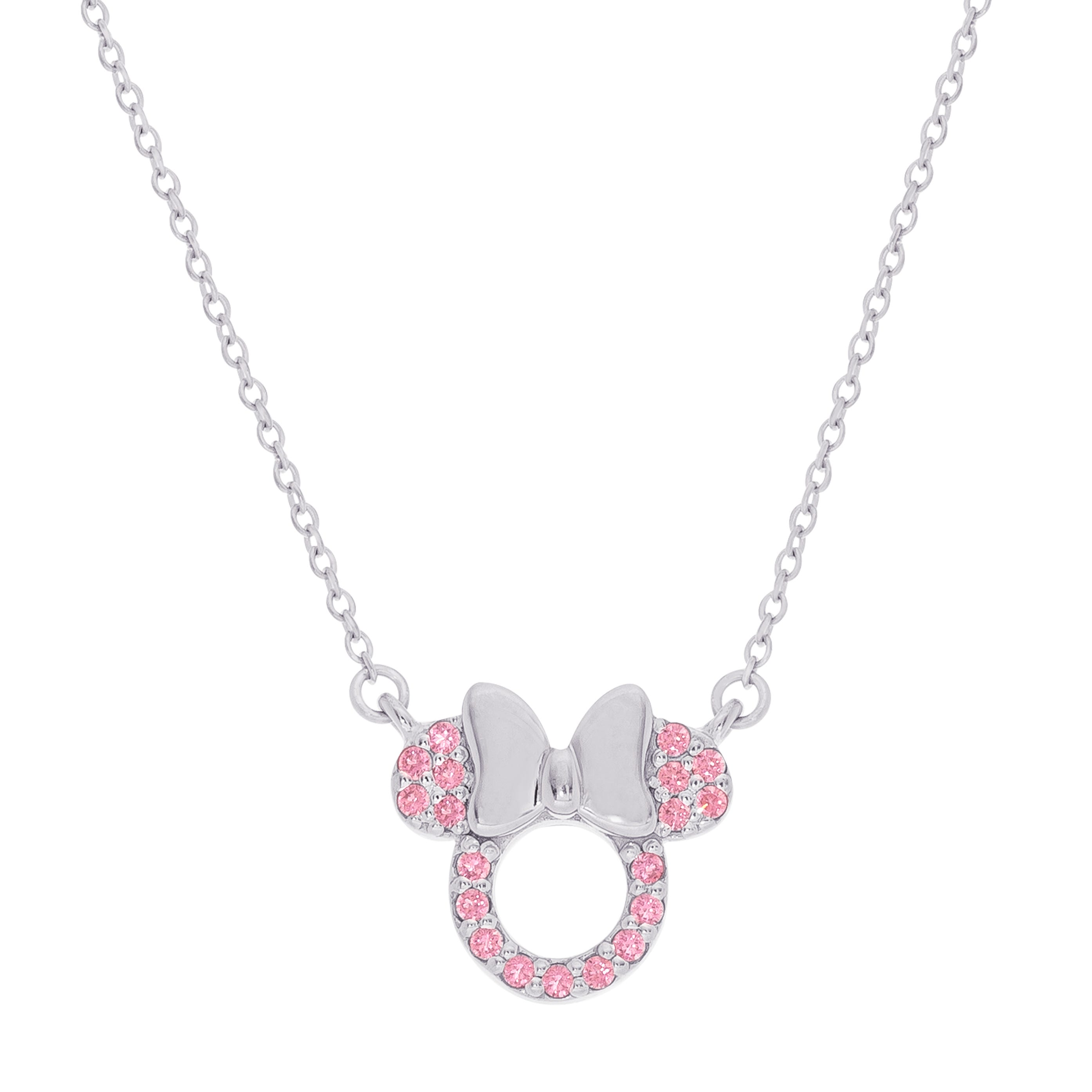 DISNEY© Minnie Mouse Pink CZ Necklace in Sterling Silver