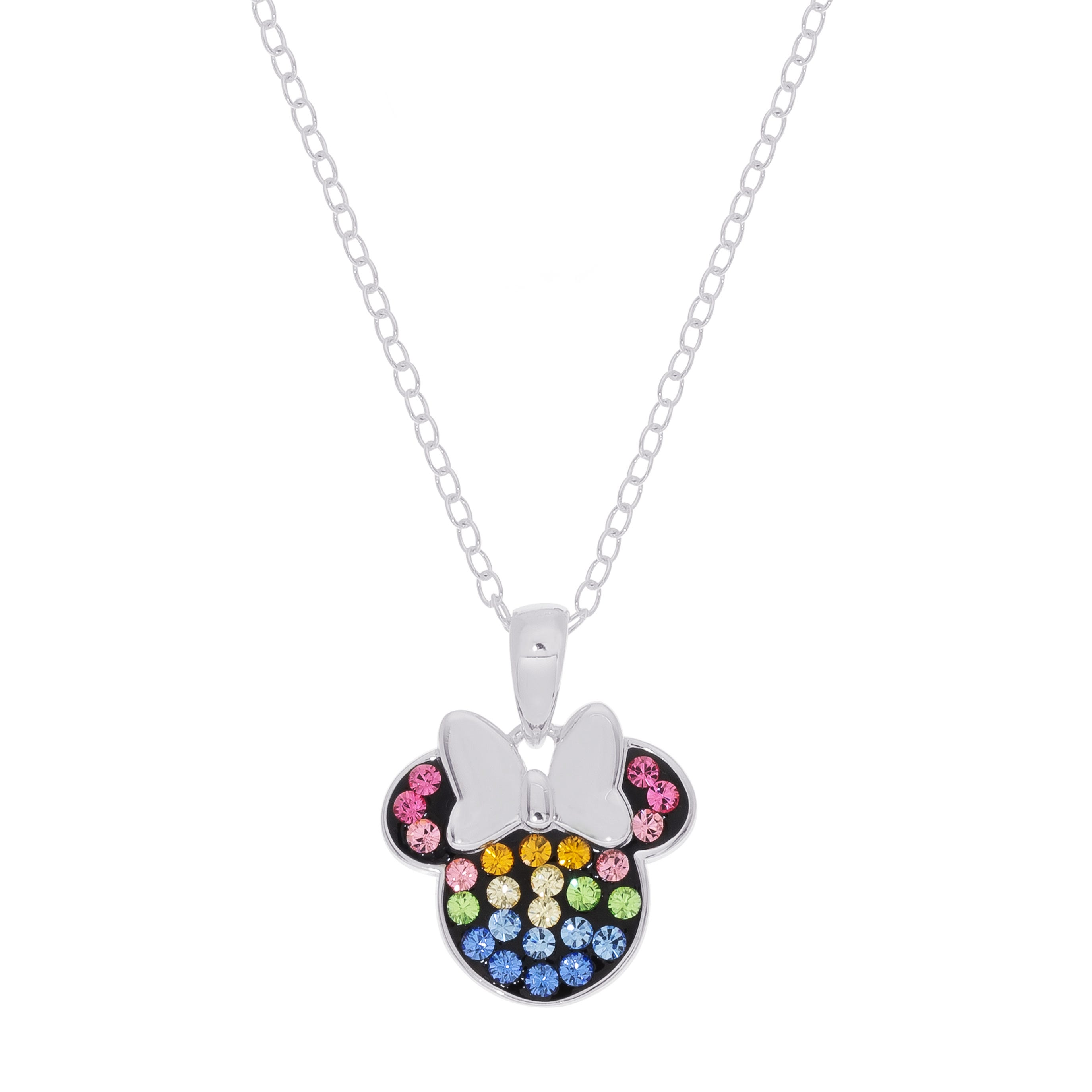 DISNEY© Rainbow Minnie Mouse Crystal Pendant in Sterling Silver