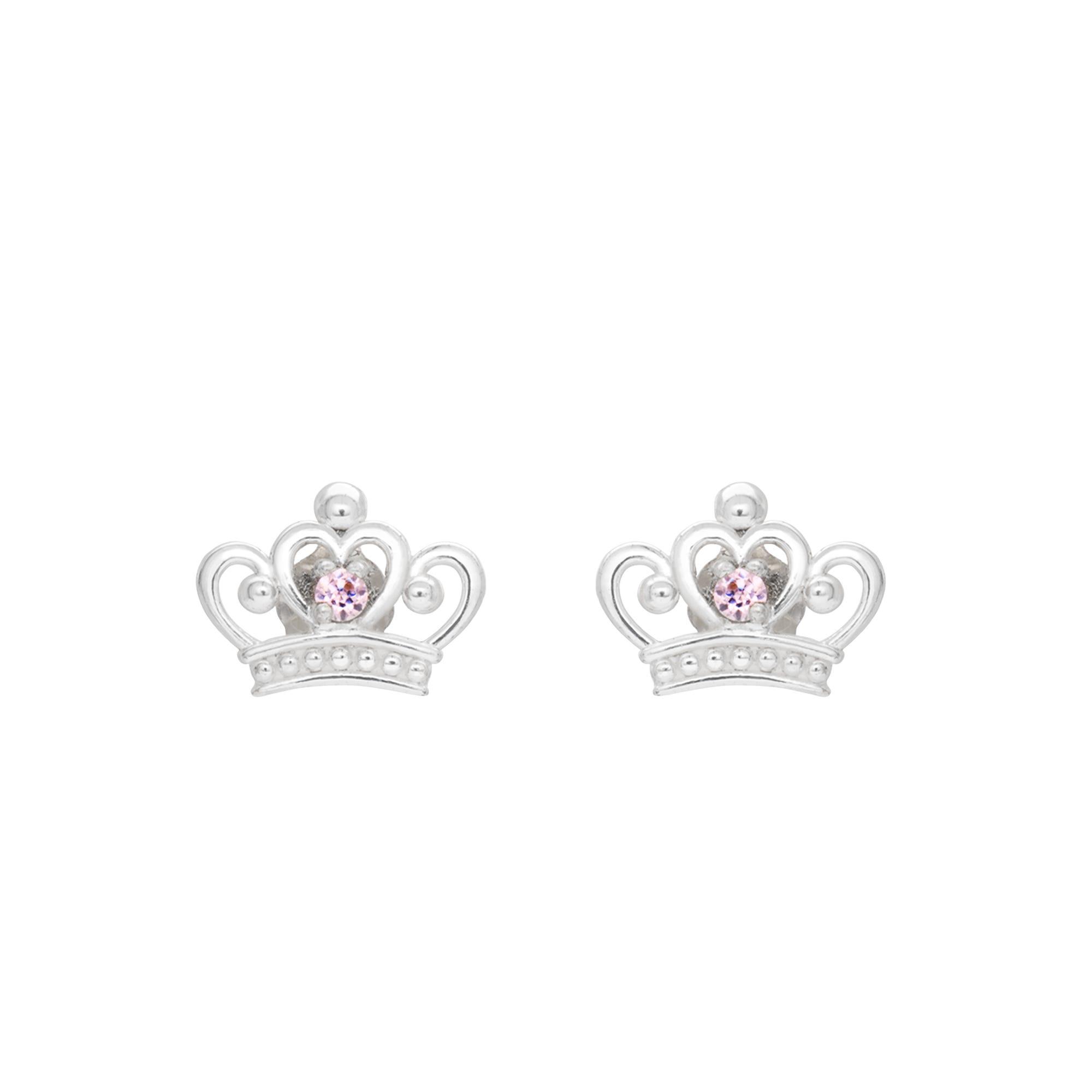 DISNEY© Tiara Stud Earrings in Sterling Silver