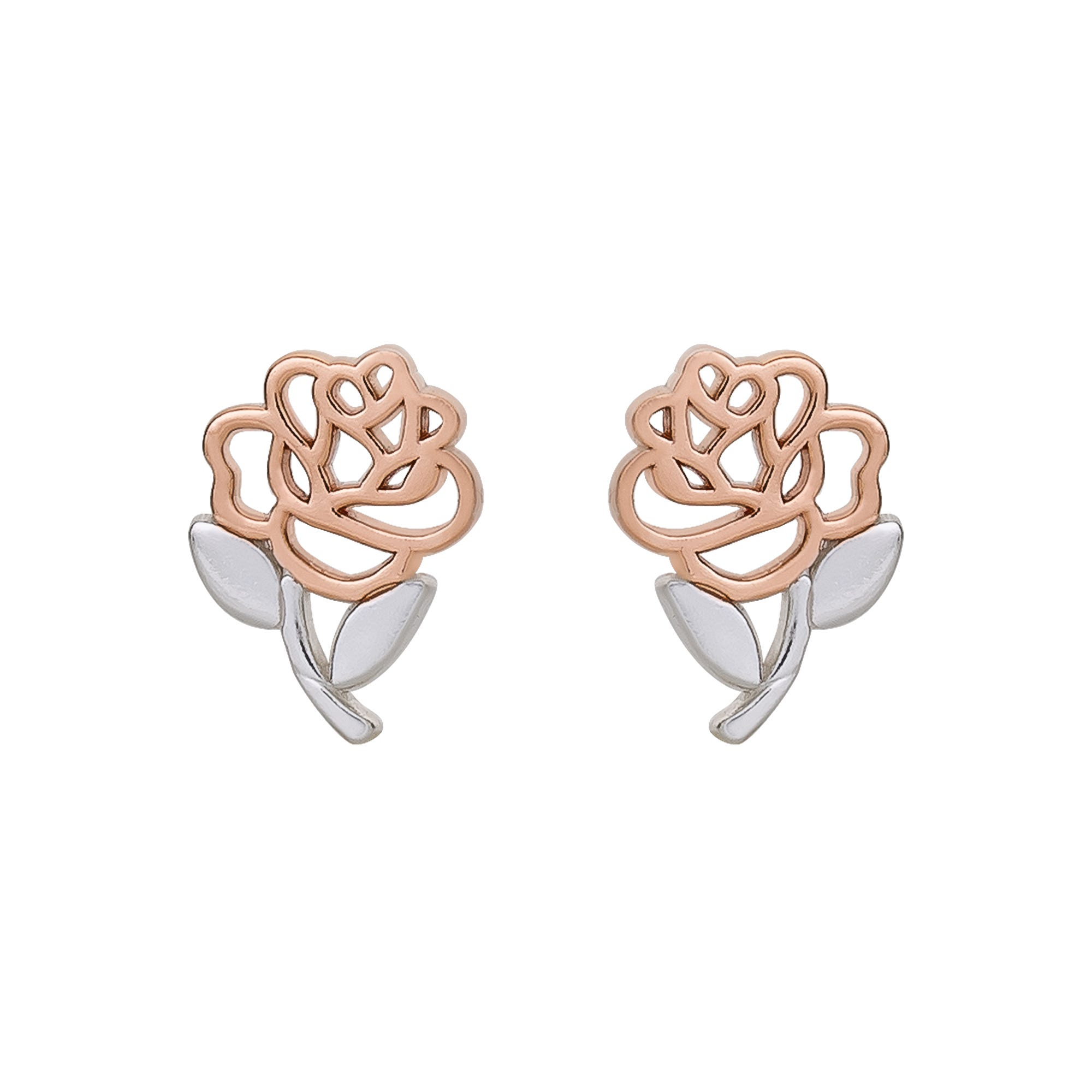 DISNEY© Beauty and The Beast Rose Stud Earrings in Sterling Silver