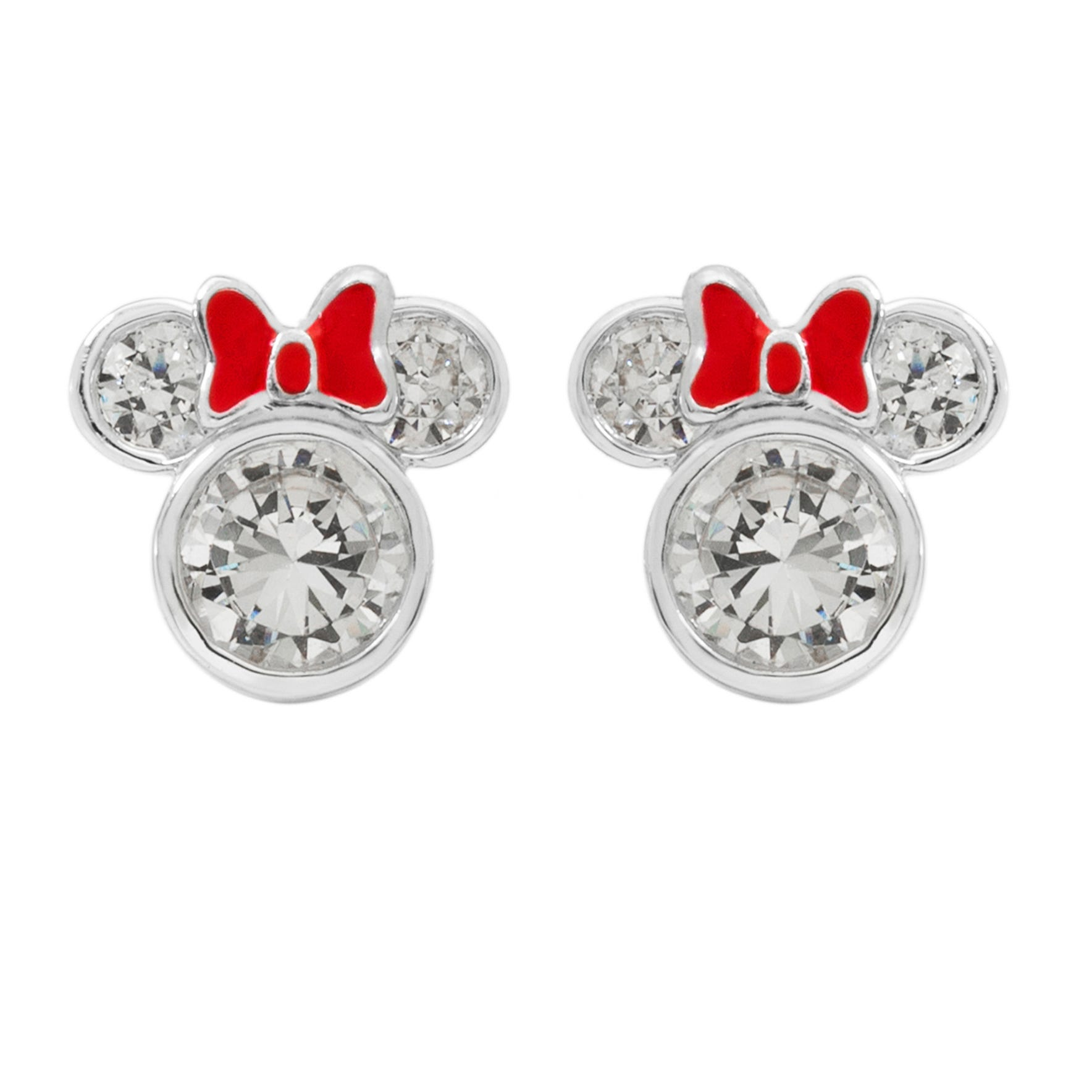 DISNEY© Minnie Mouse CZ Stud Earrings w/ Bow in Sterling Silver