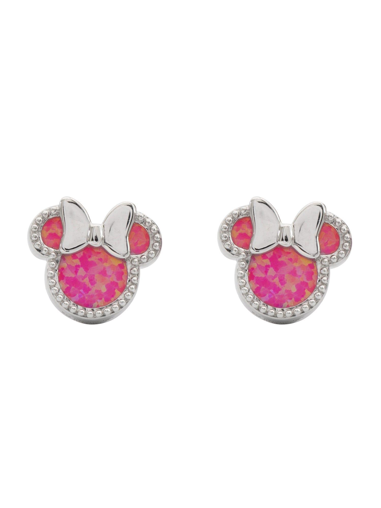 DISNEY© Minnie Mouse Created Opal CZ Stud Earrings in Sterling Silver