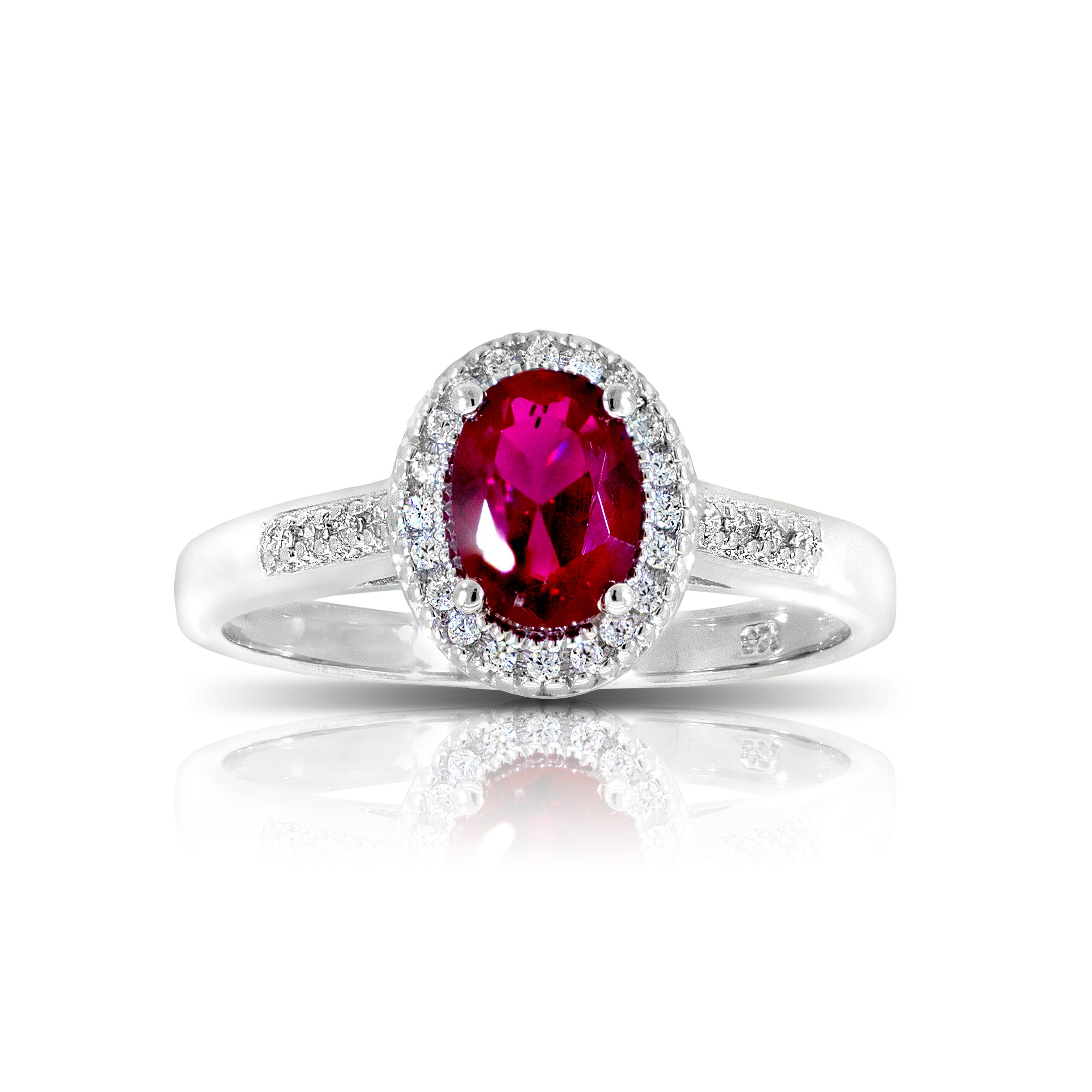 Oval Created Ruby & Diamond Ring in Sterling Silver
