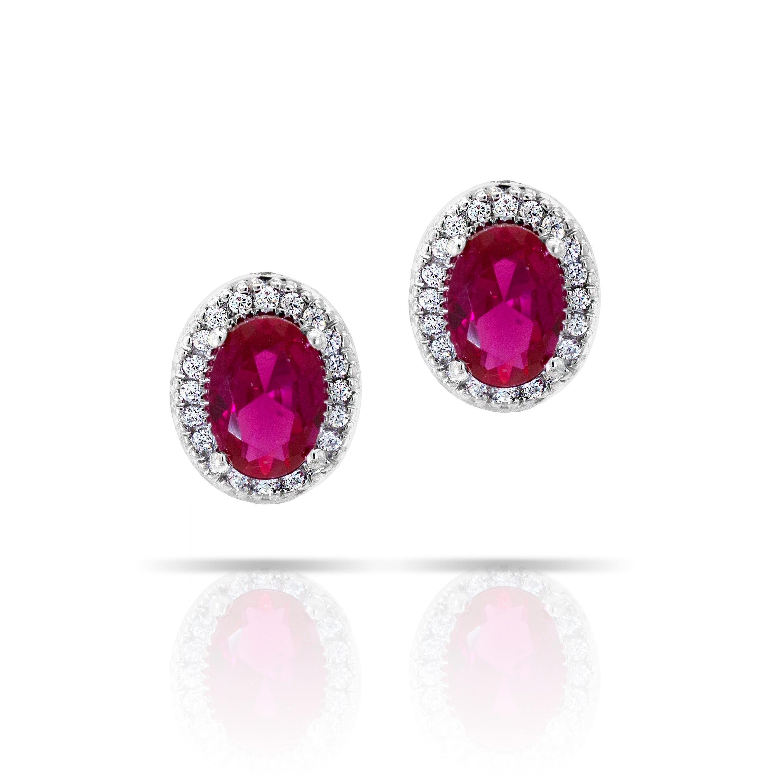 Oval Created Ruby & Diamond Earrings in Sterling Silver