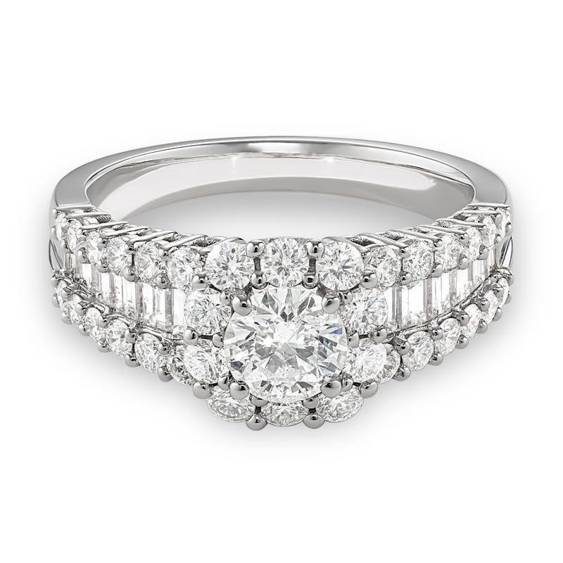 Celebration. Baguette & Round Diamond Halo Engagement Ring