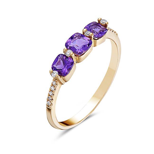 Amethyst & Diamond Three Stone Ring in 14k Rose Gold