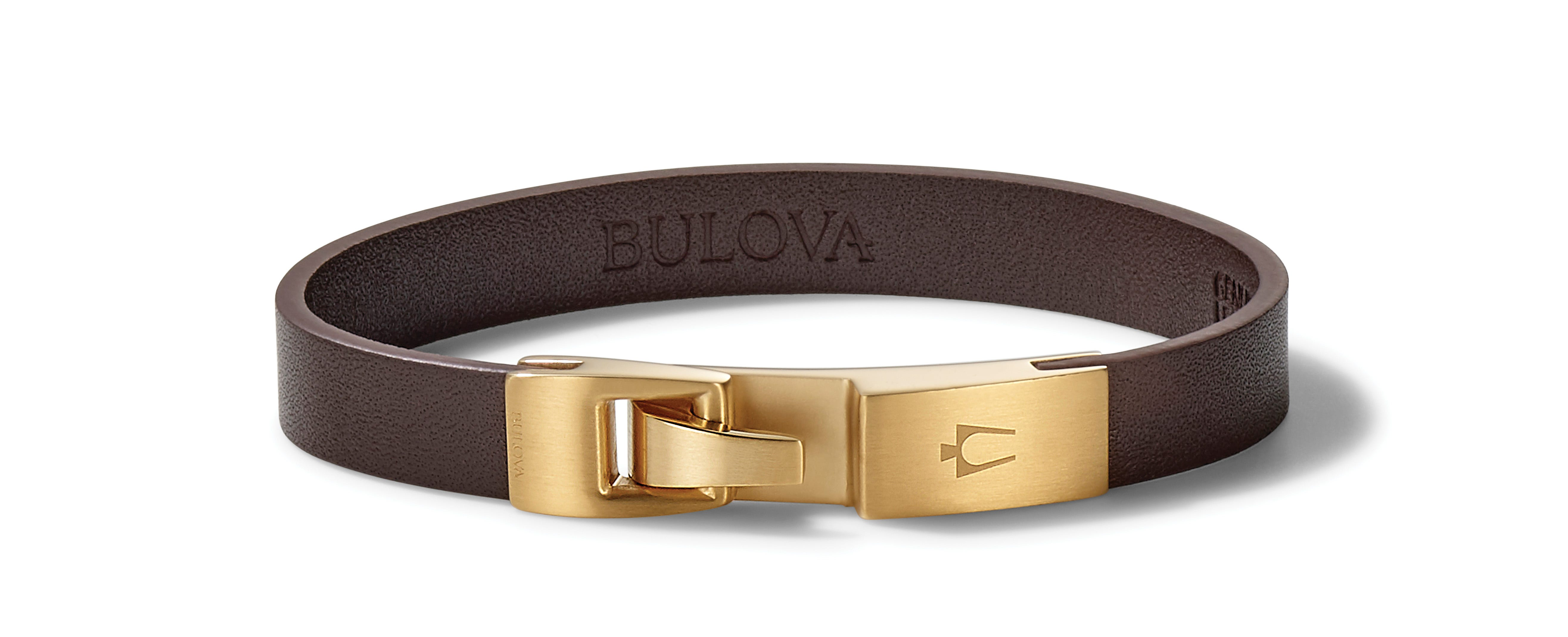 Bulova Classic Black & Red Leather Bracelet with Stainless Steel Clasp J97B004L