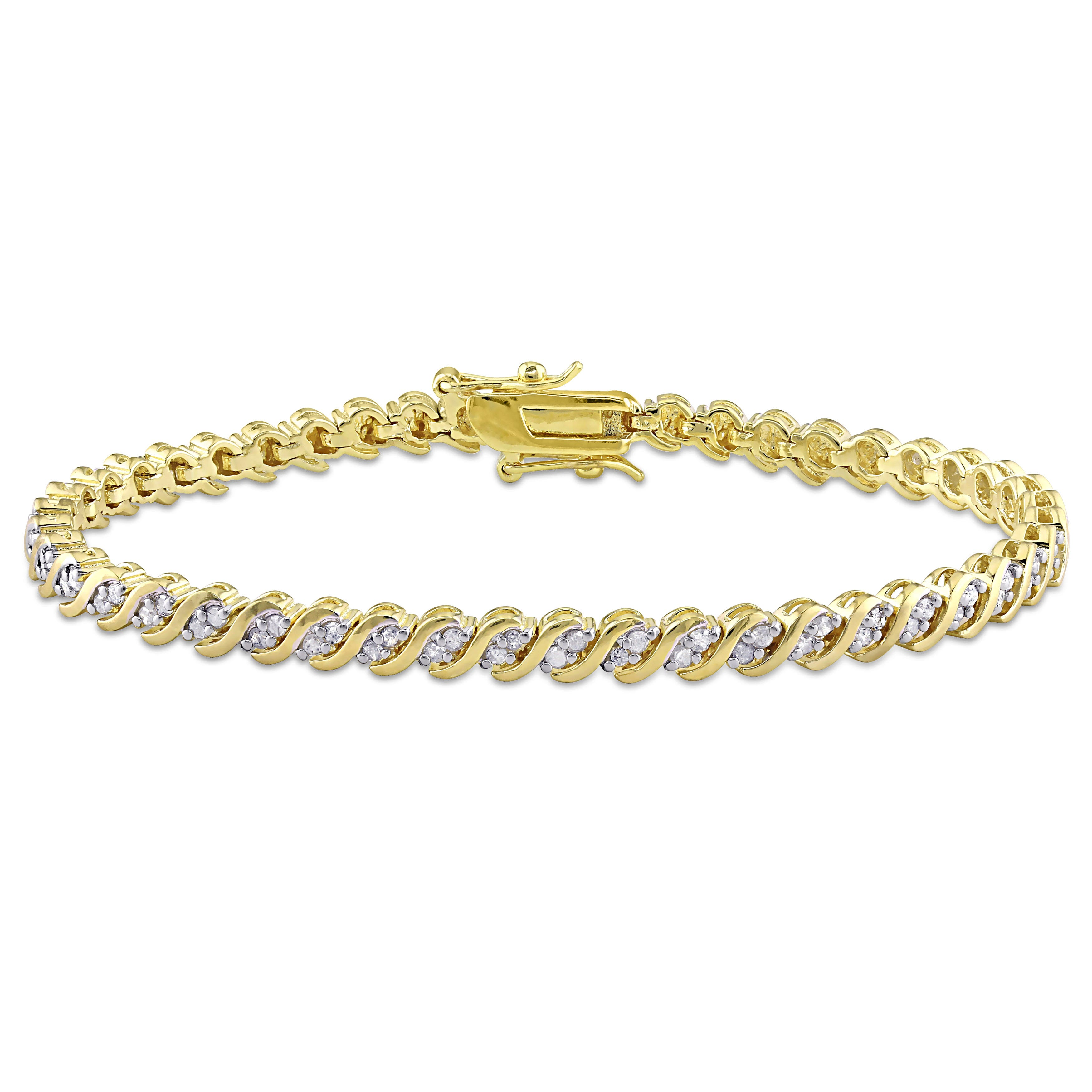 Diamond Tennis Bracelet 1ctw in Sterling Silver Gold Plated