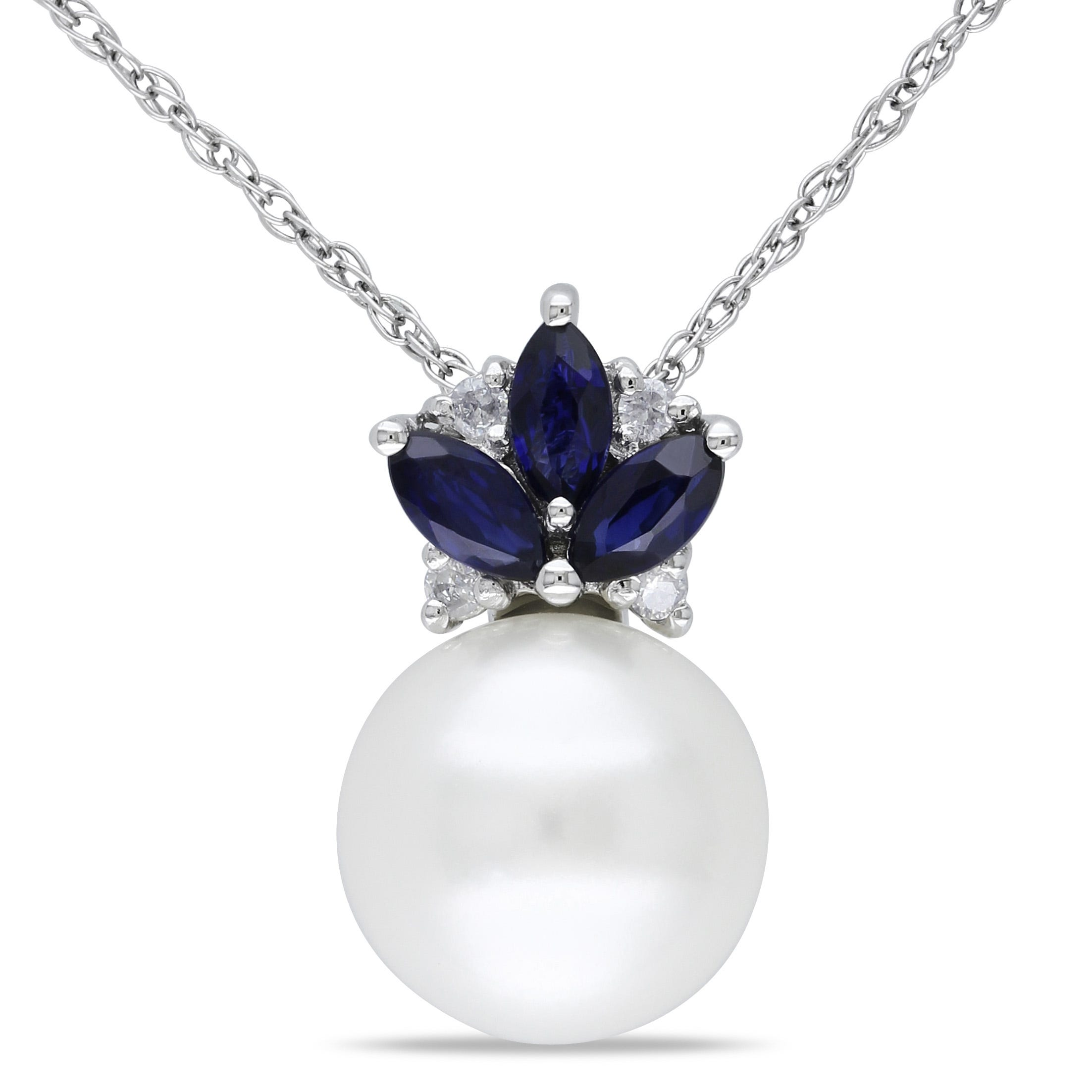 Diamond, Sapphire & Freshwater Pearl Pendant 1/3ctw in 10k White Gold