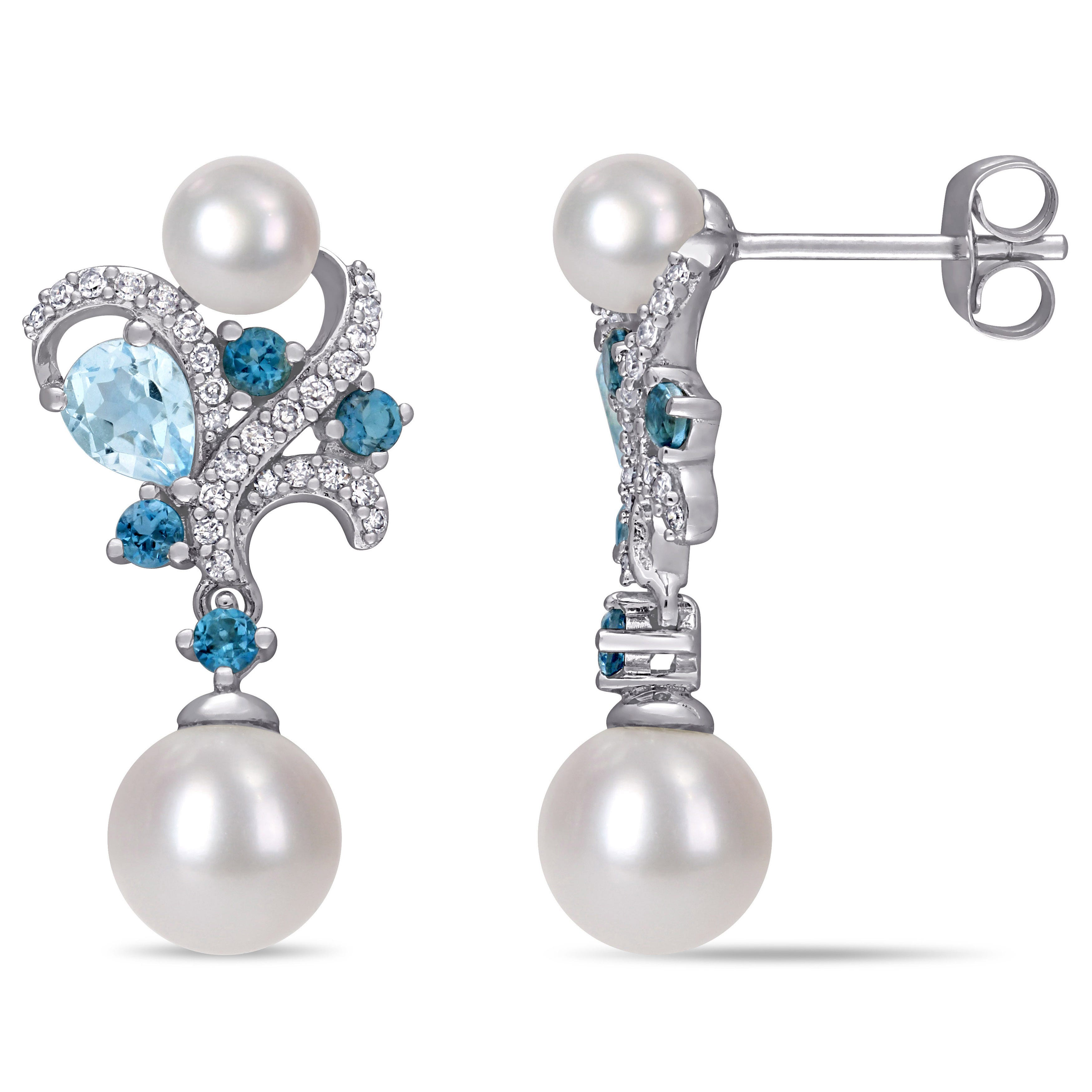 Diamond, London Blue Topaz & Sky Blue Topaz w/ Freshwater Pearl Cluster Drop Earrings in 10k White Gold