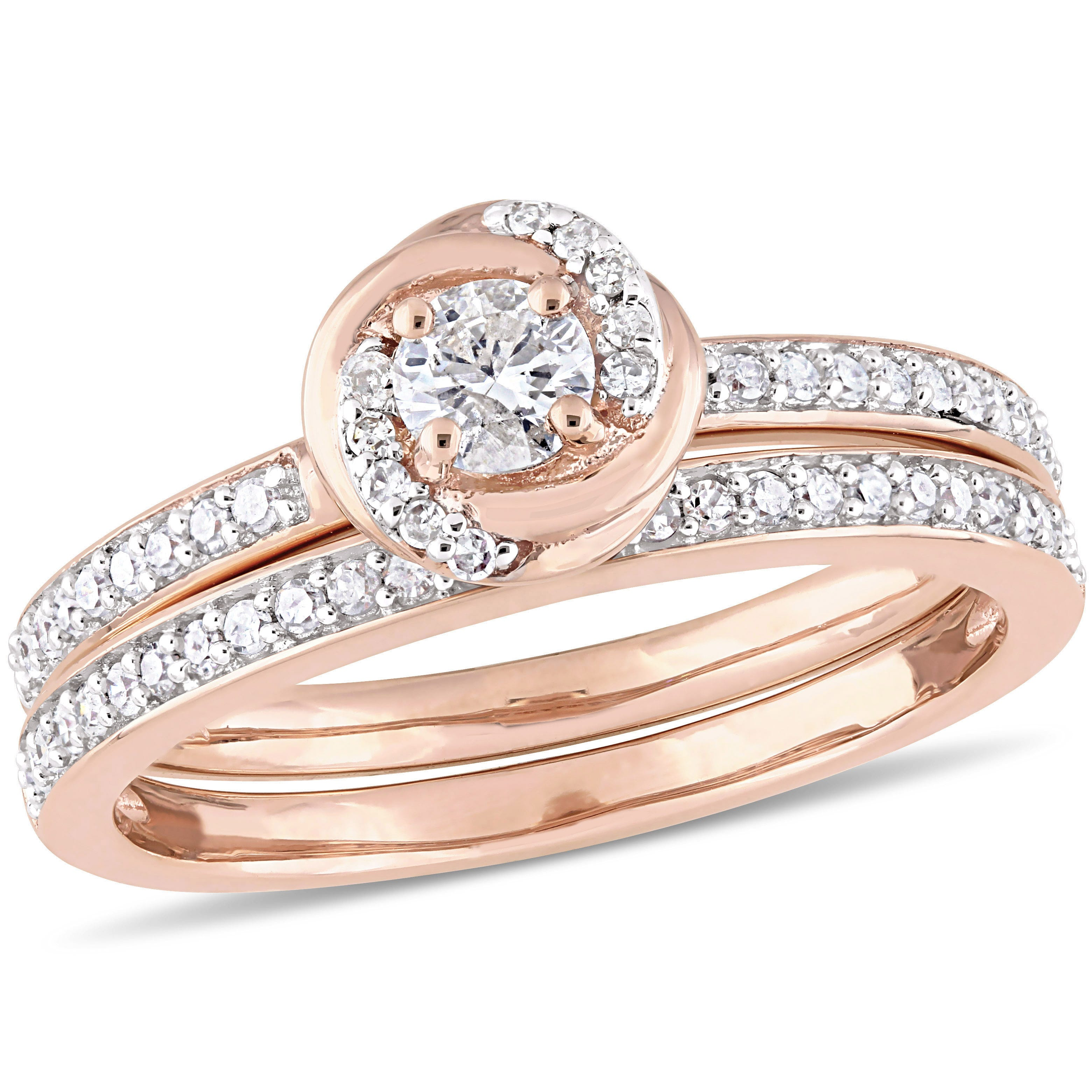 Diamond Swirl Bridal Set 1/2ctw. in 10k Rose Gold