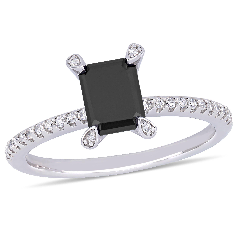 Black & White Diamond Engagement Ring  1 1/10ctw. in 10k White Gold