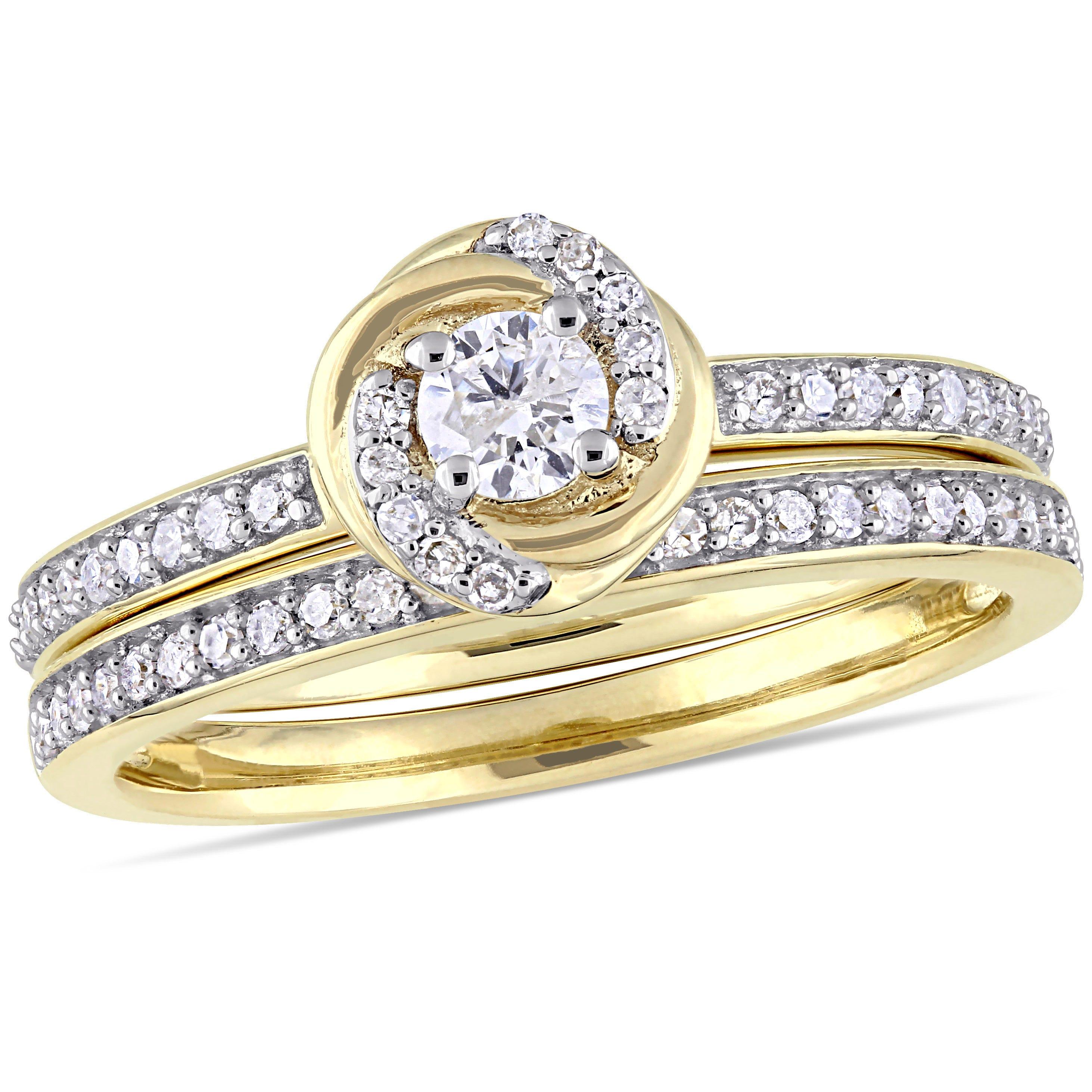 Diamond Swirl Bridal Set 1/2ctw. in 10k Yellow Gold