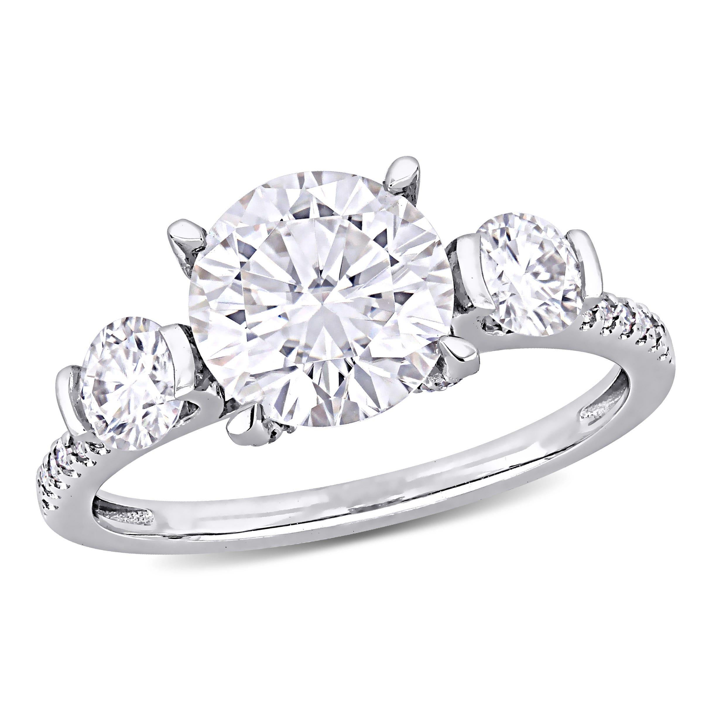 Moissanite and Diamond Three-Stone Engagement Ring in 14k White Gold