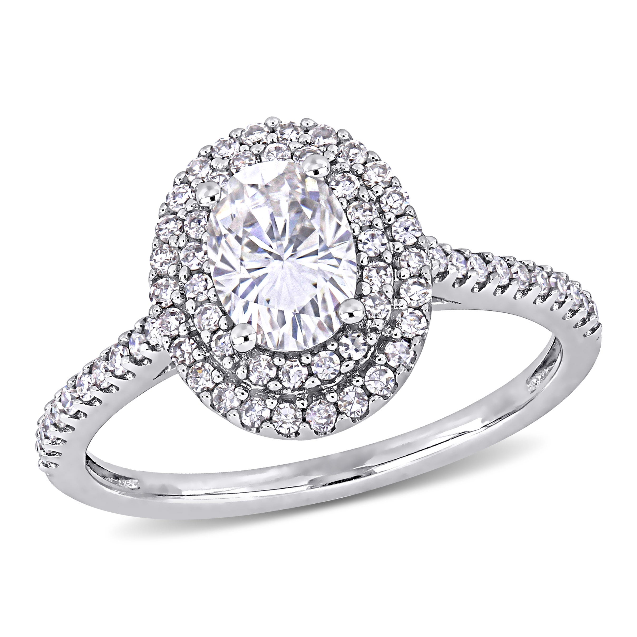 Oval Moissanite and Diamond Engagement Ring in 14K White Gold
