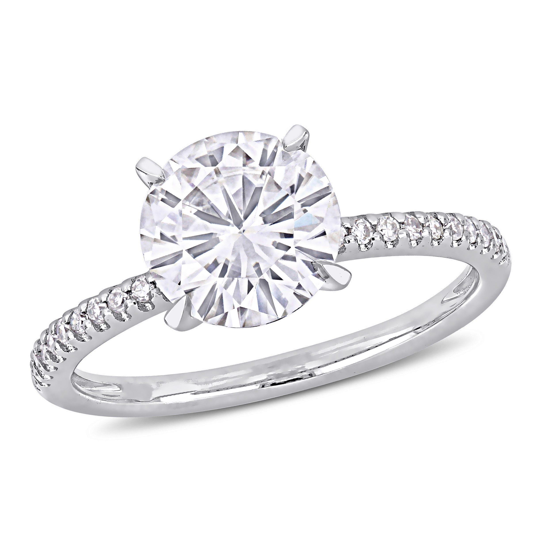 Round Moissanite Diamond Shank Ring In 14k White Gold