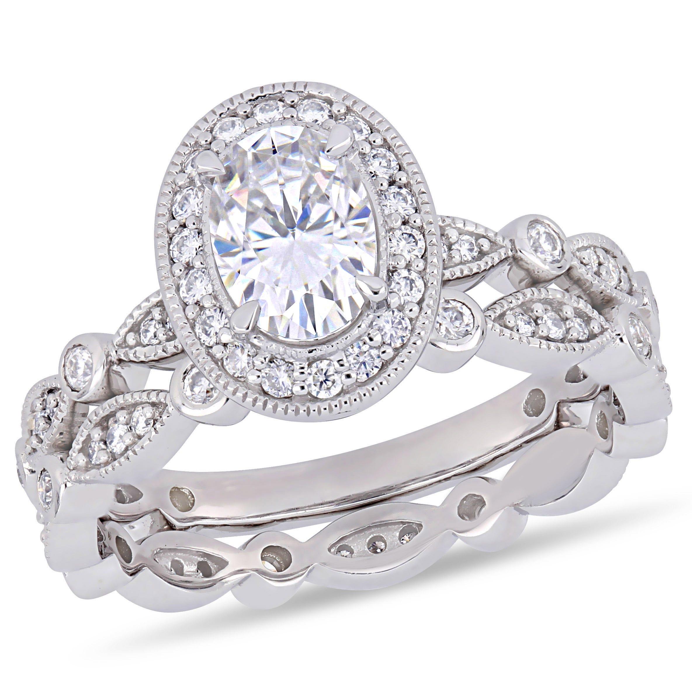 Moissanite Infinity Ring in 10k White Gold