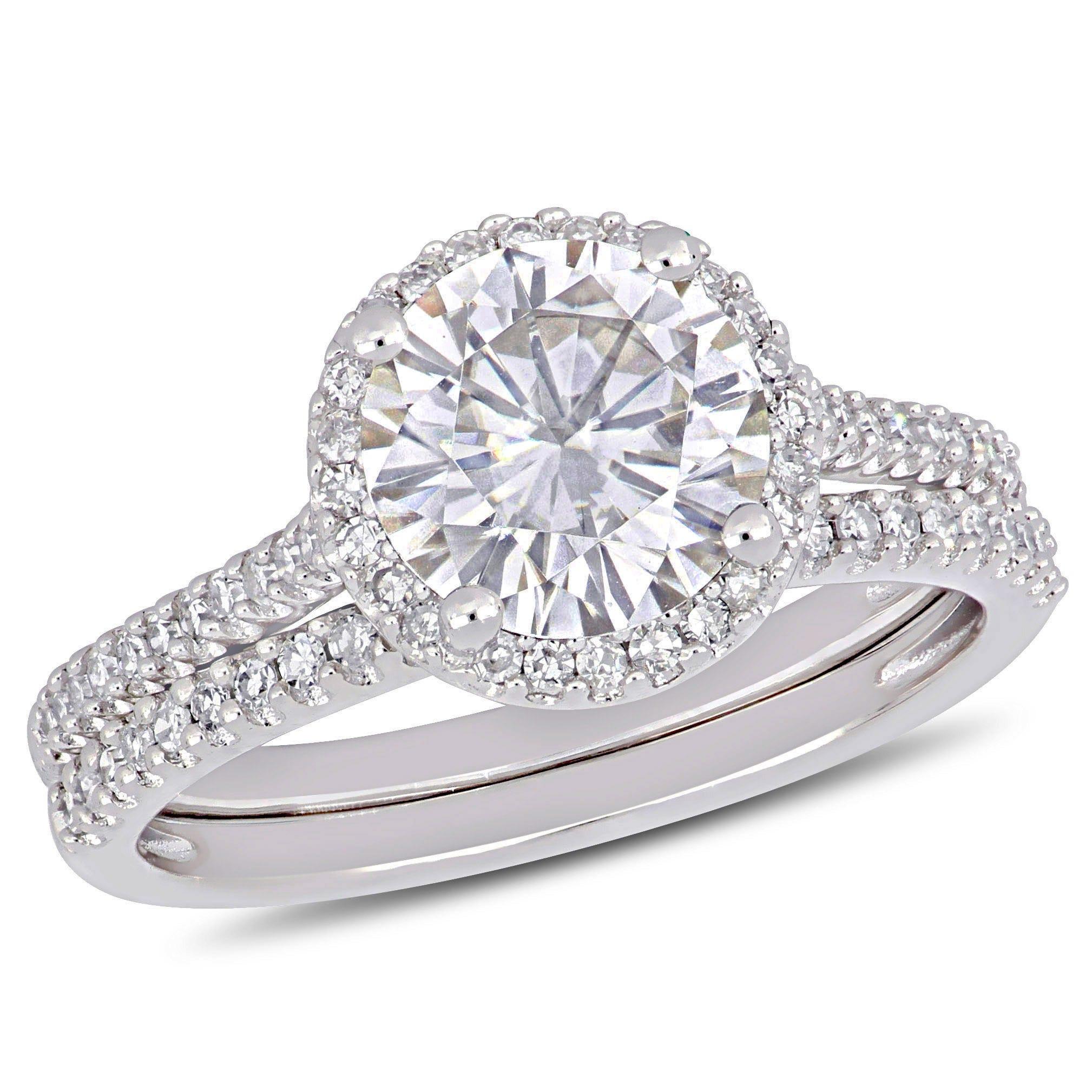 Moissanite And Diamond Bridal Ring Set In 14k White Gold