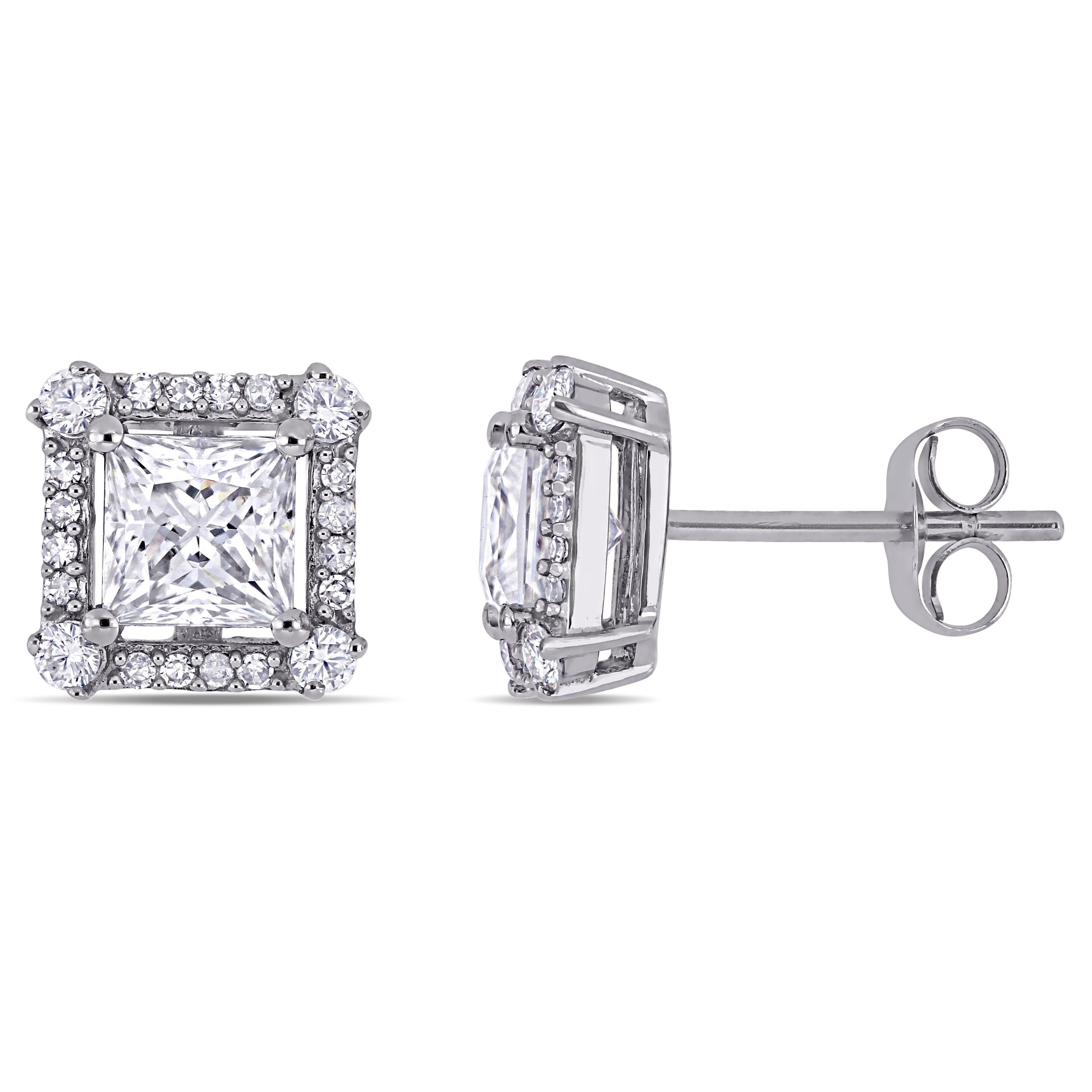 Moissanite and Diamond Halo Stud Earrings in 10k White Gold