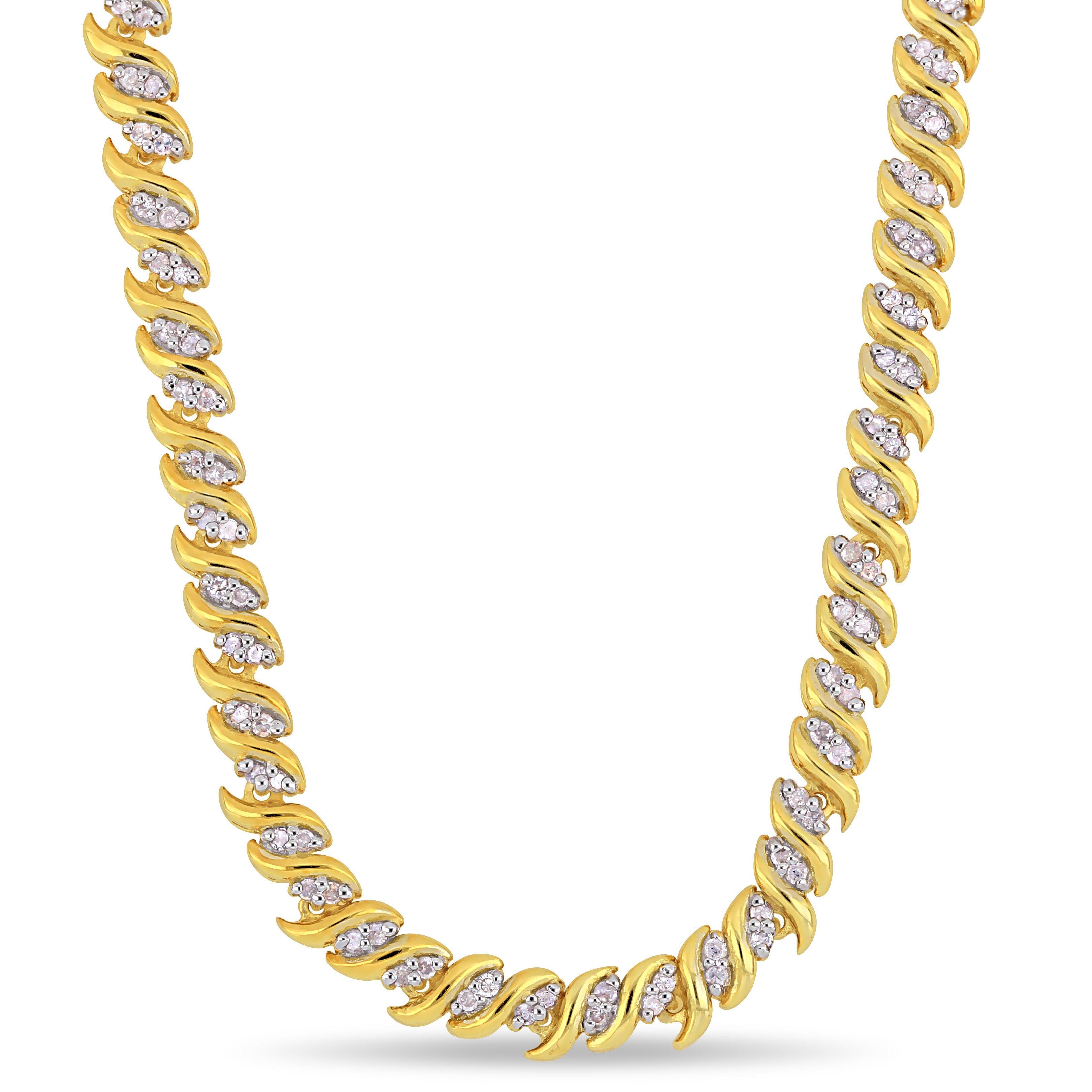 Diamond Swirl Tennis Necklace 1ctw in Sterling Silver