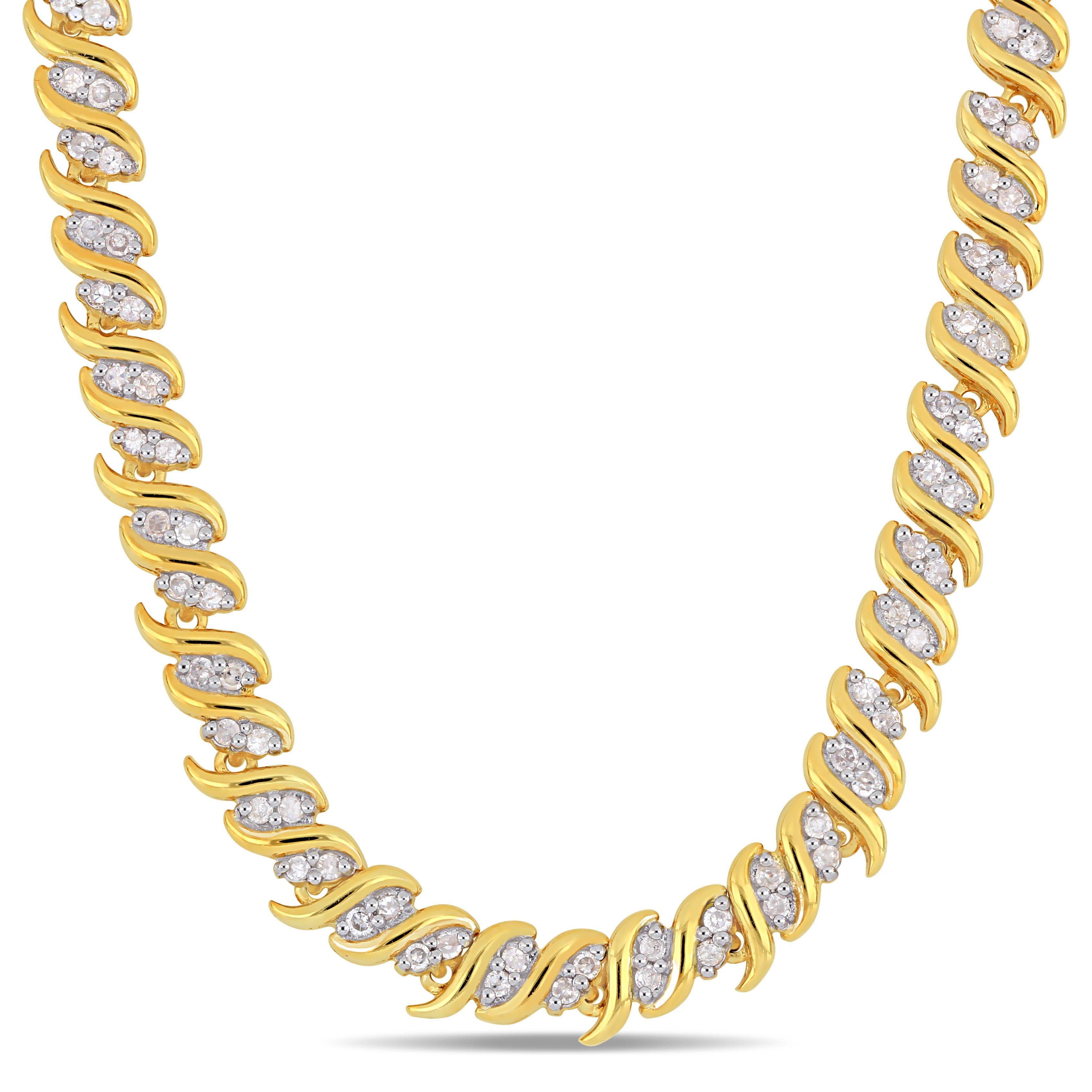 Diamond Swirl Tennis Necklace 2ctw in Sterling Silver